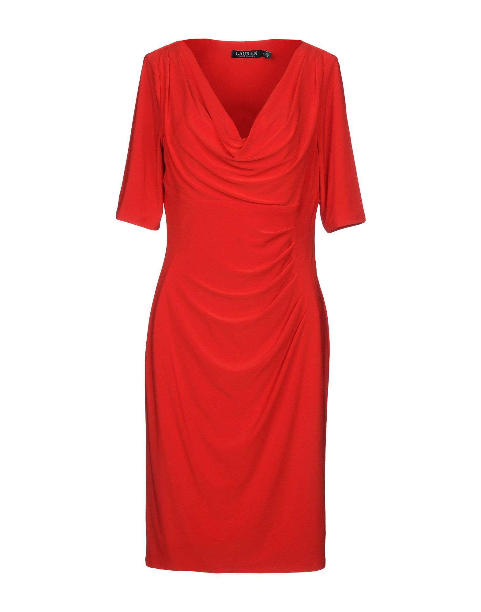 Lauren Ralph Lauren Red Jersey Draped Dress