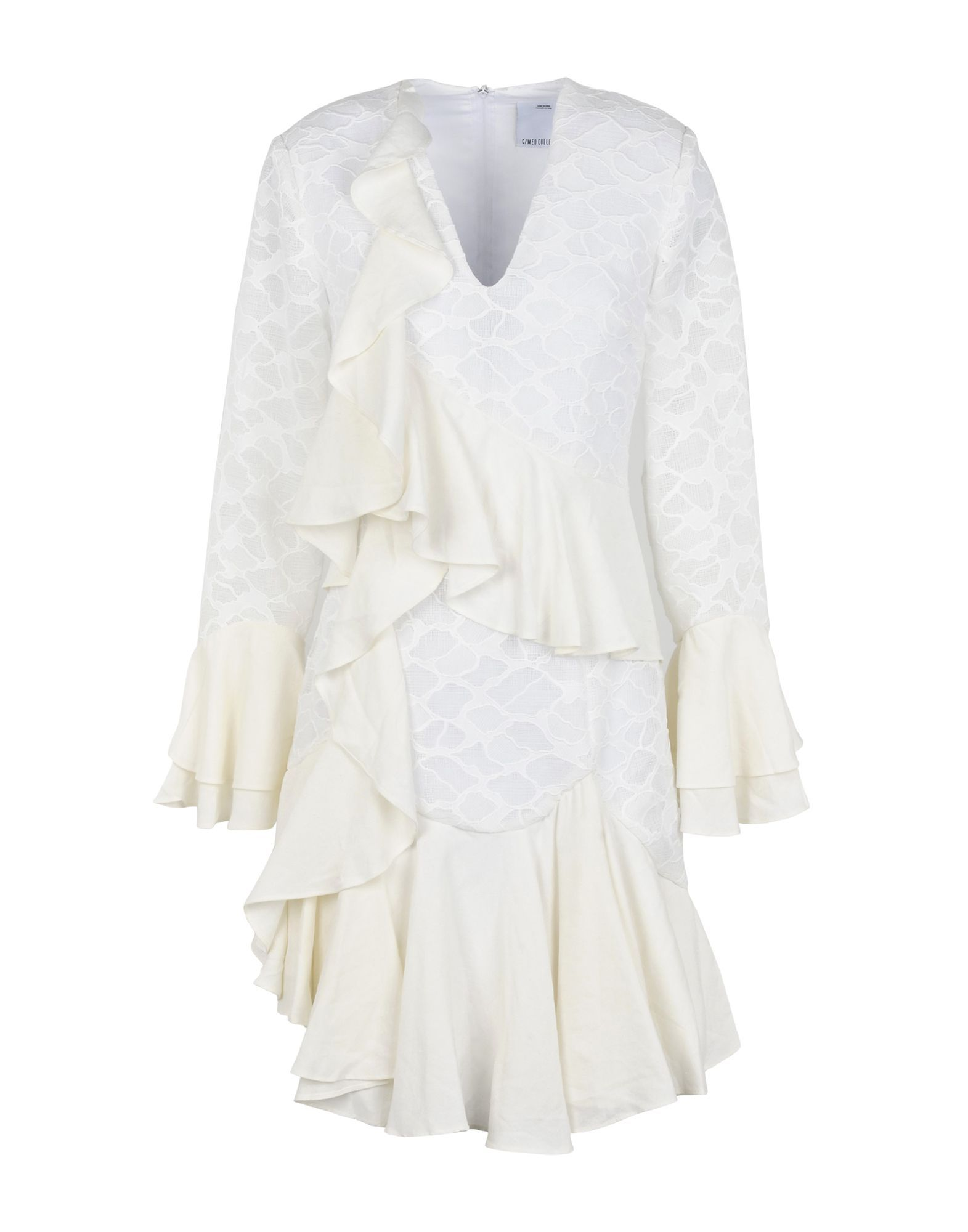 C/Meo Collective White Lace Draped Dress