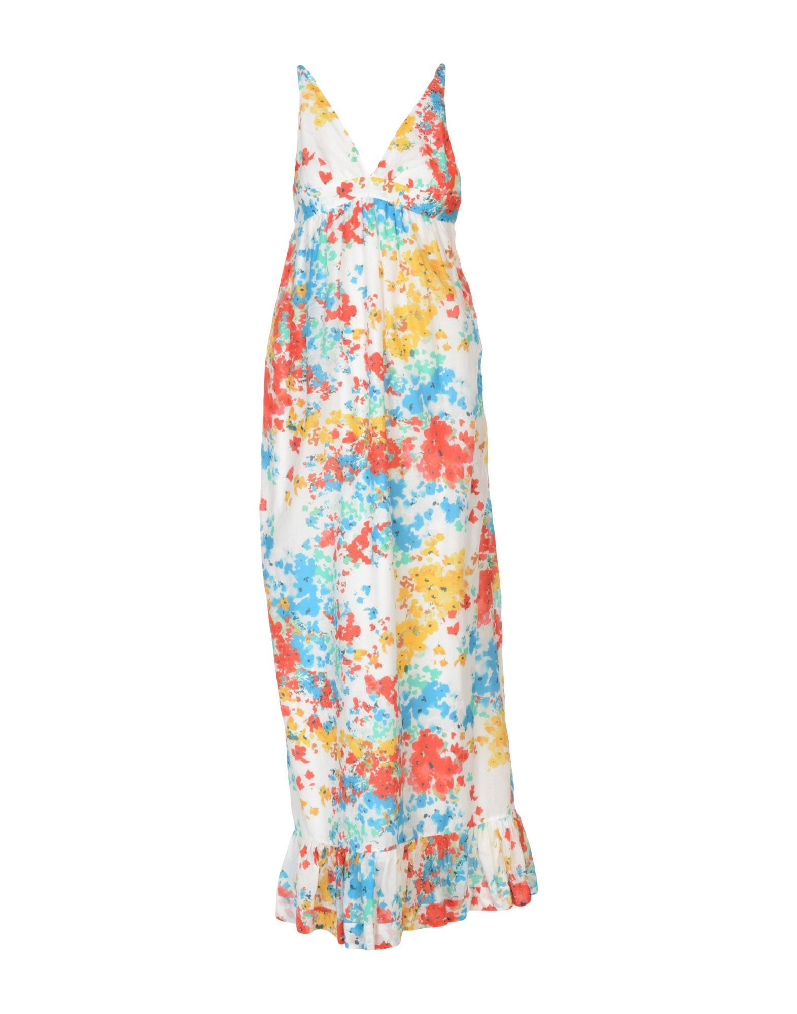 Pinko White Print Cotton Full Length Dress