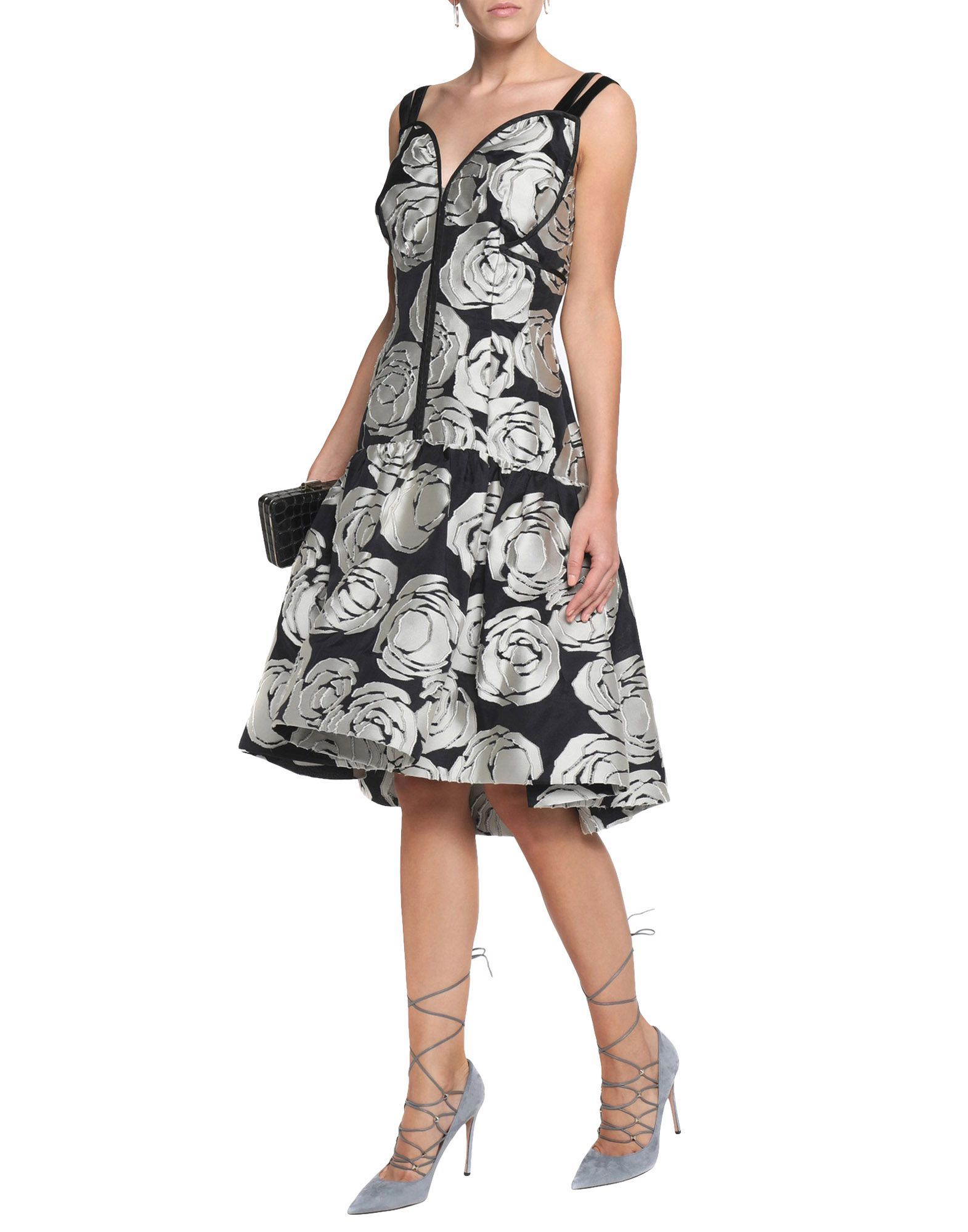 Oscar De La Renta Light Grey Silk Knee Length Dress