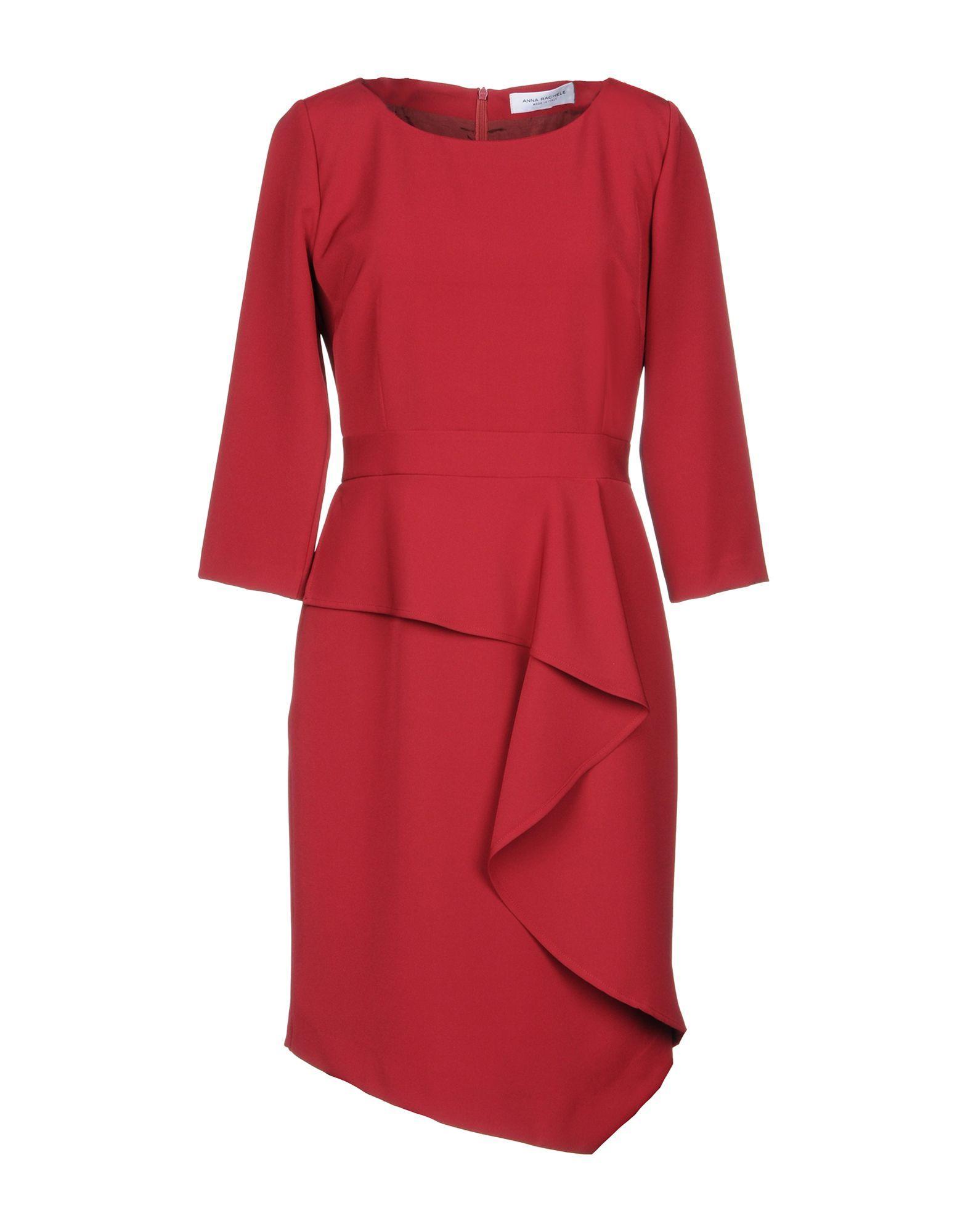 Anna Rachele Maroon Crepe Ruffle Dress