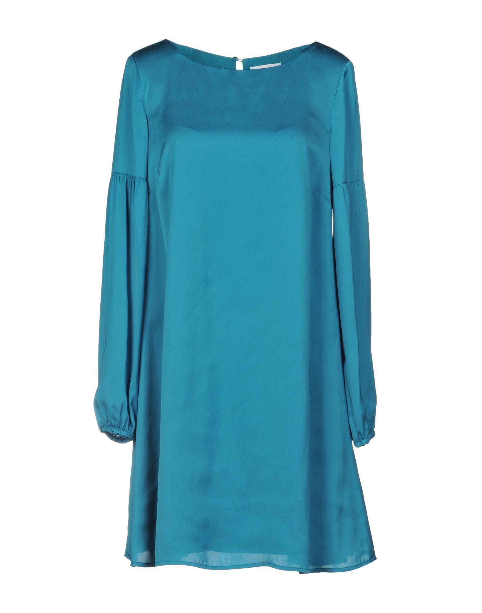 Patrizia Pepe Turquoise Satin Long Sleeve Dress