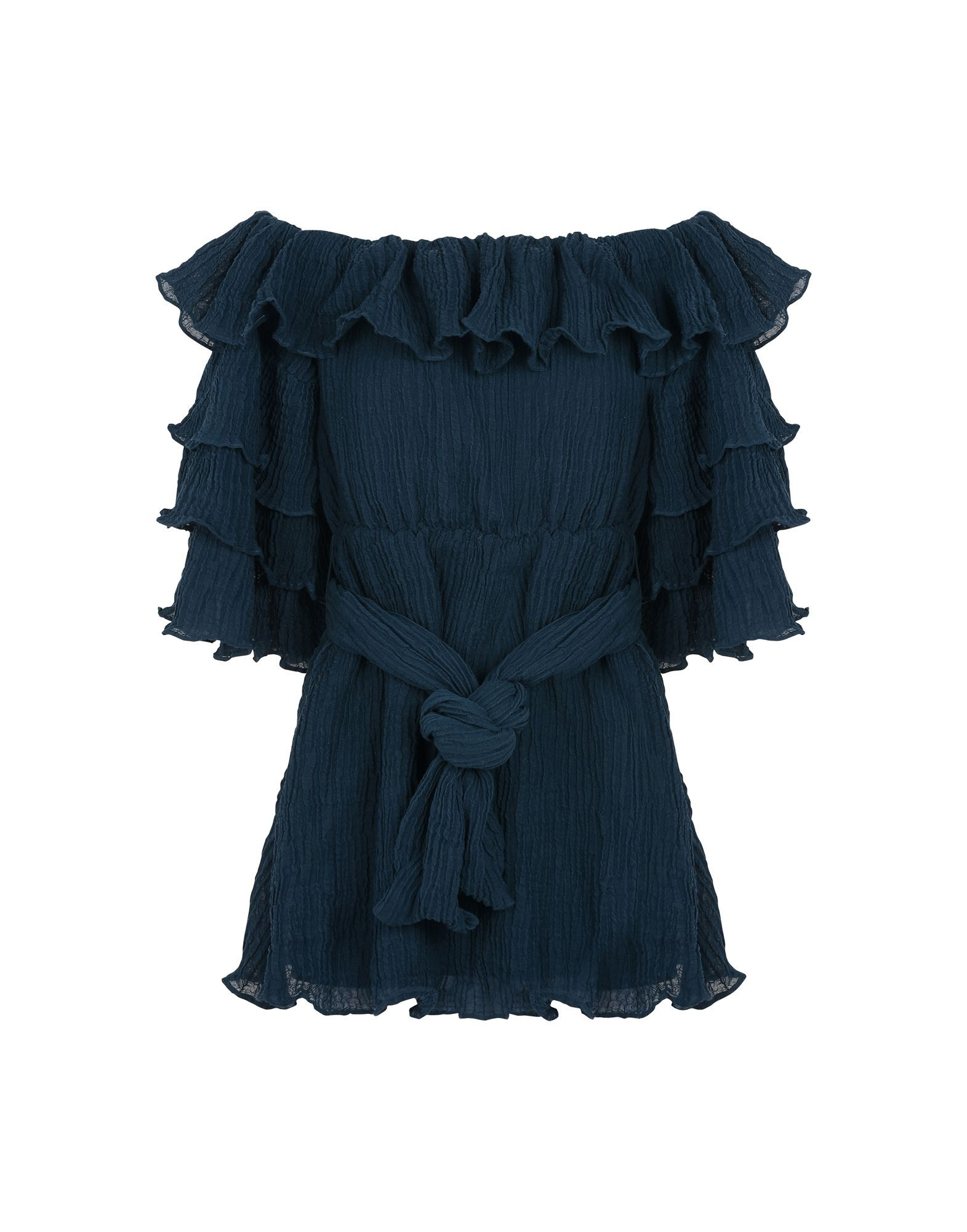 C/Meo Collective Deep Jade Ruffle Belted Dress