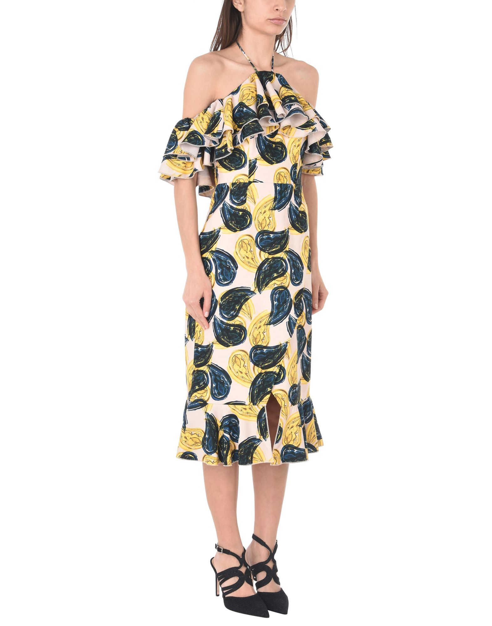 C/Meo Collective Ochre Floral Print Ruffle Dress