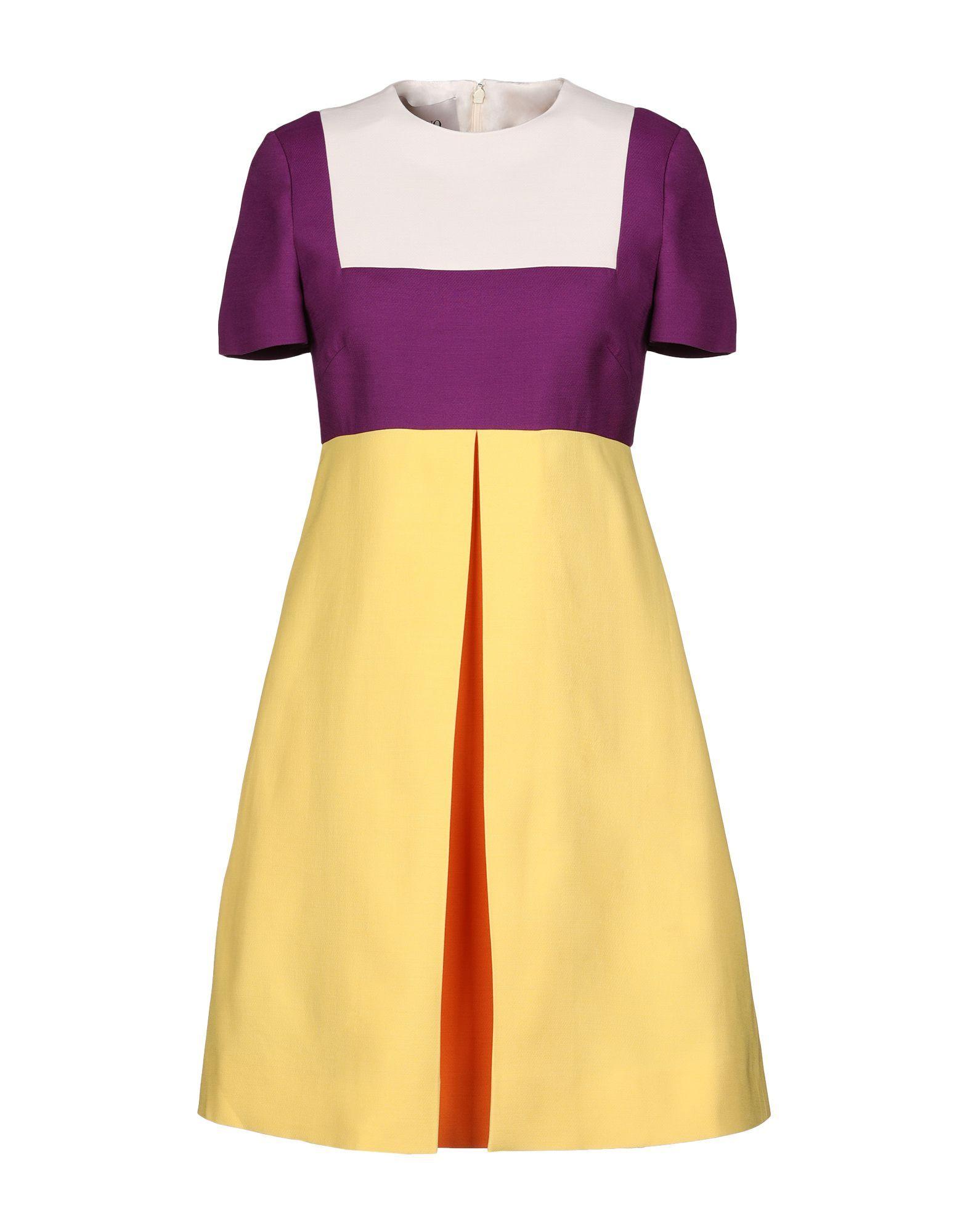 Valentino Purple Colourblock Wool Short Sleeve Dress