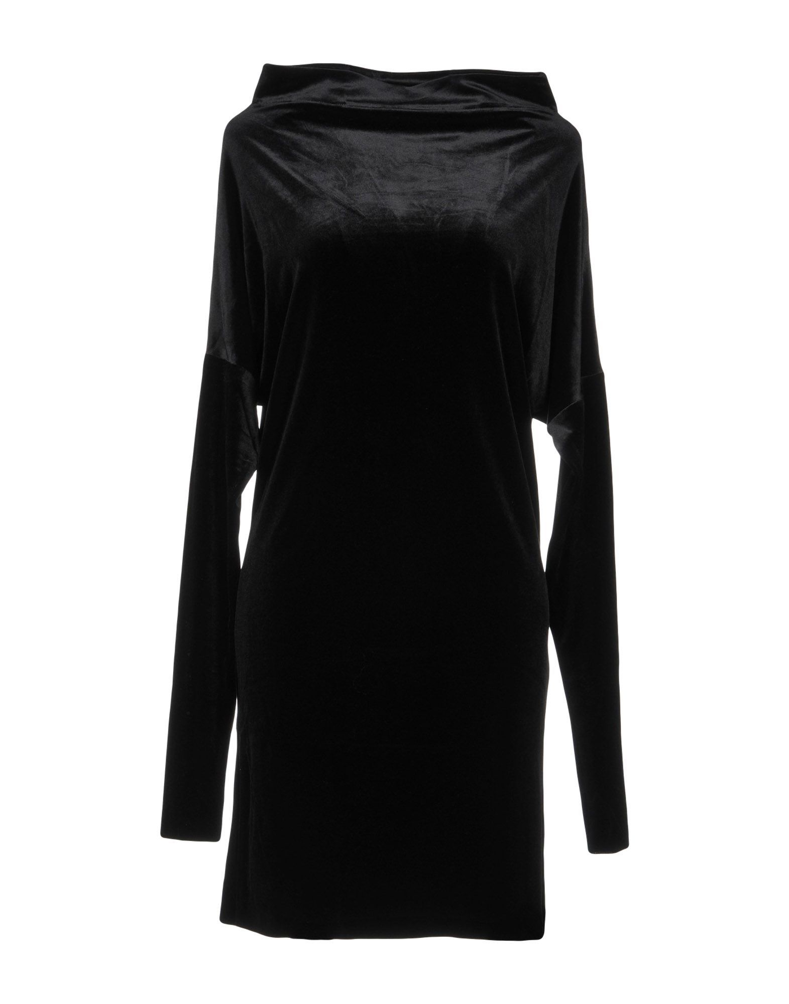 Norma Kamali Black Chenille Long Sleeve Dress
