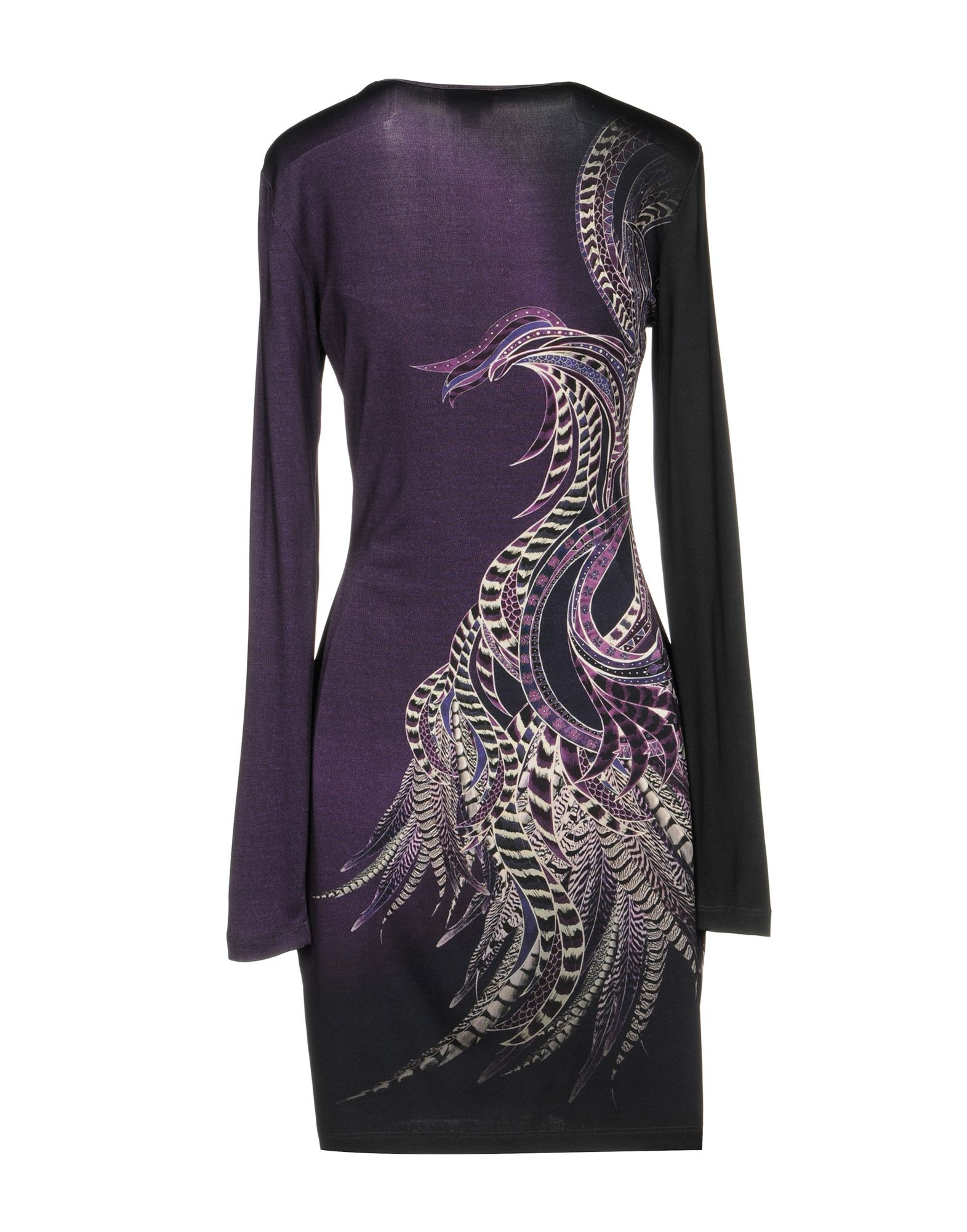 Just Cavalli Dark Purple Long Sleeve Dress