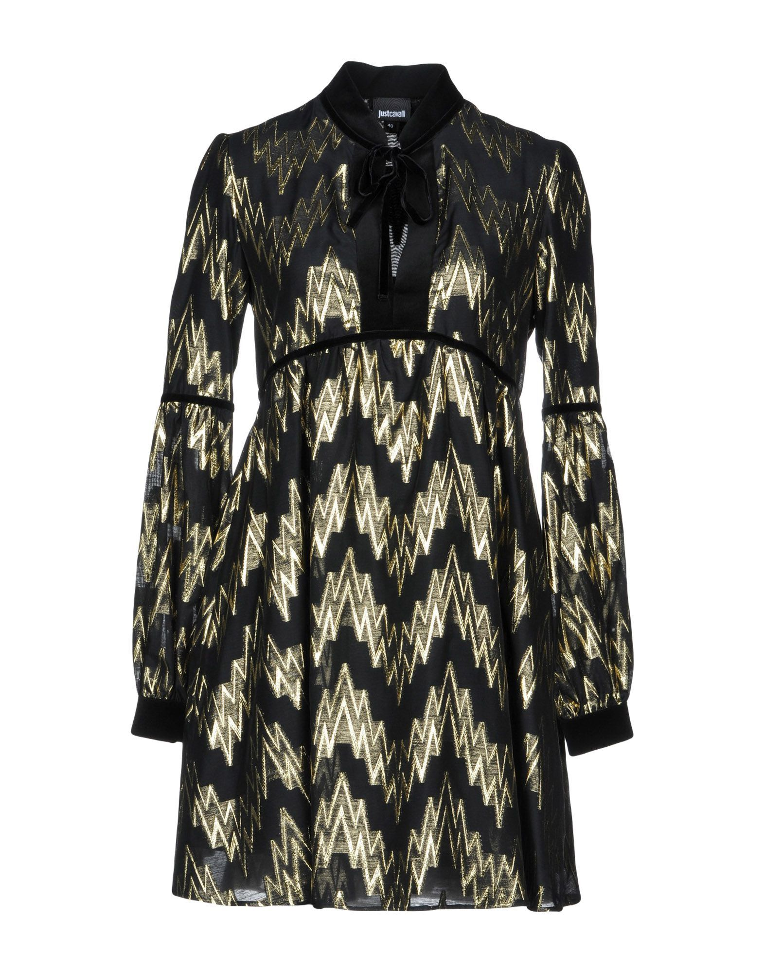 Just Cavalli Black Print Long Sleeve Short Dress