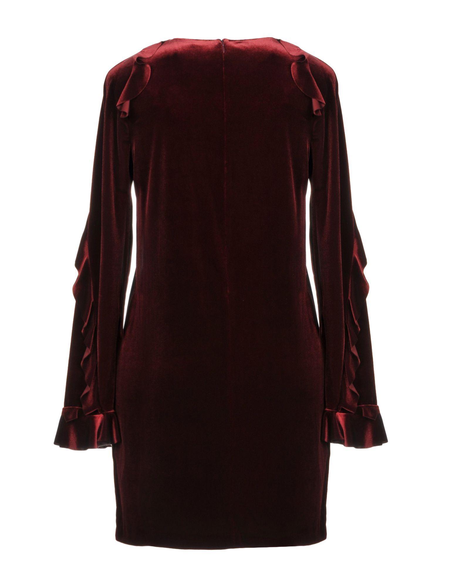 Pinko Maroon Chenille Long Sleeve Dress