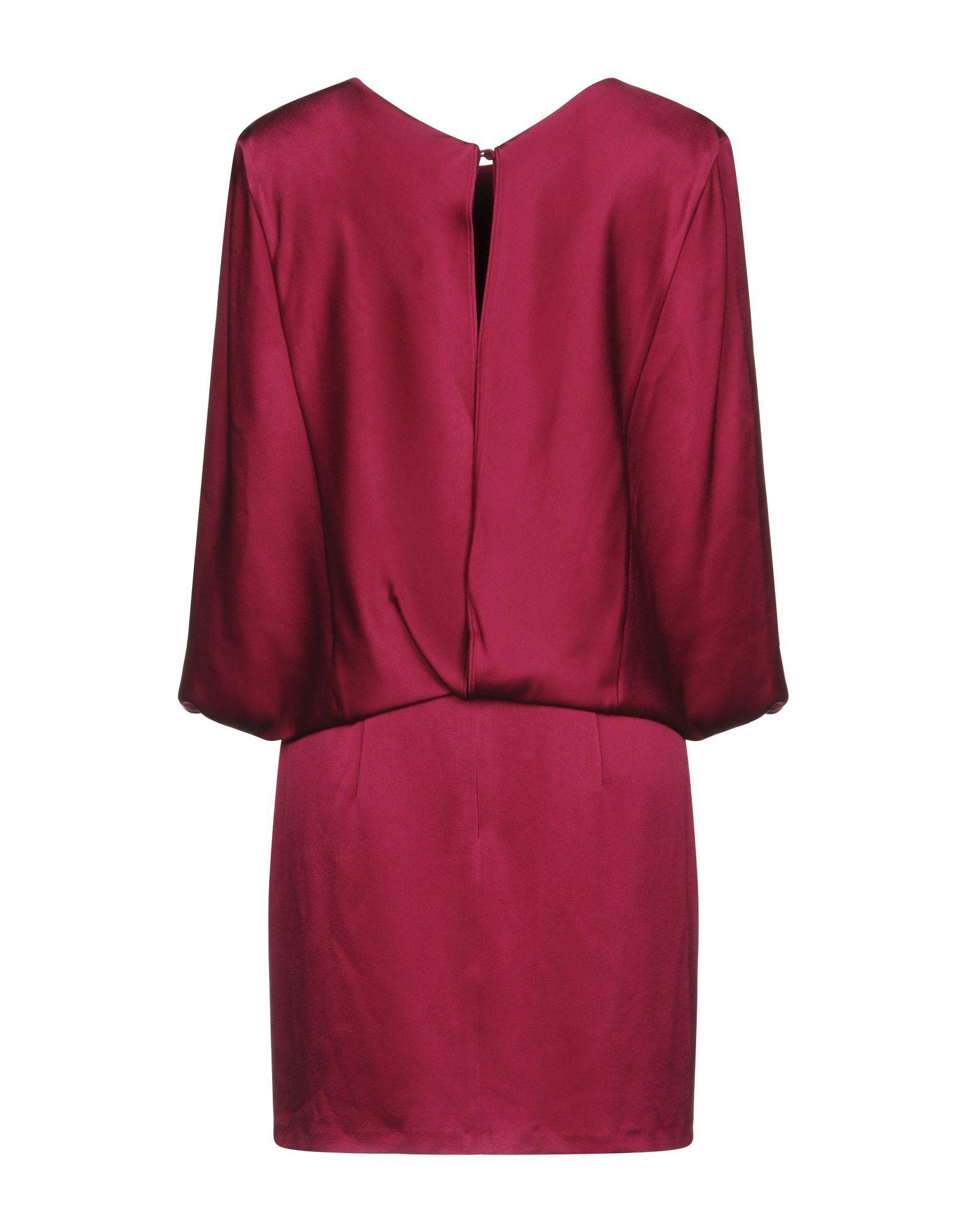 Halston Garnet Satin Long Sleeve Dress