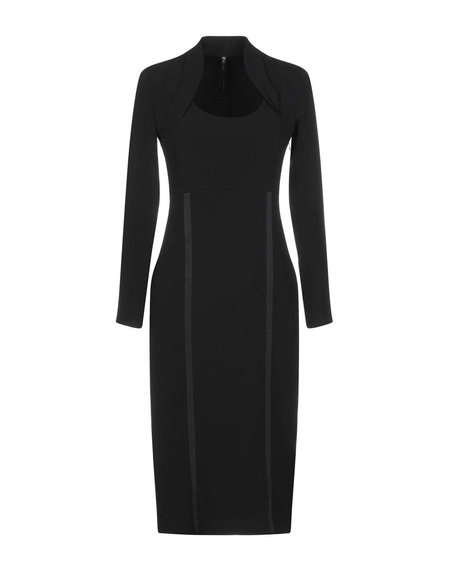 Manila Grace Black Crepe Long Sleeve Dress