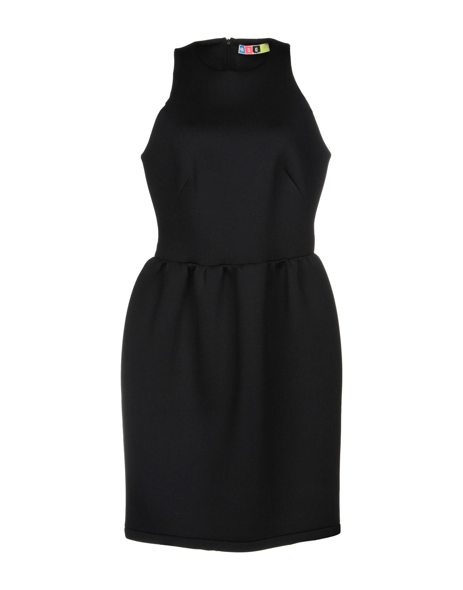 MSGM Black Neoprene Sleeveless Dress