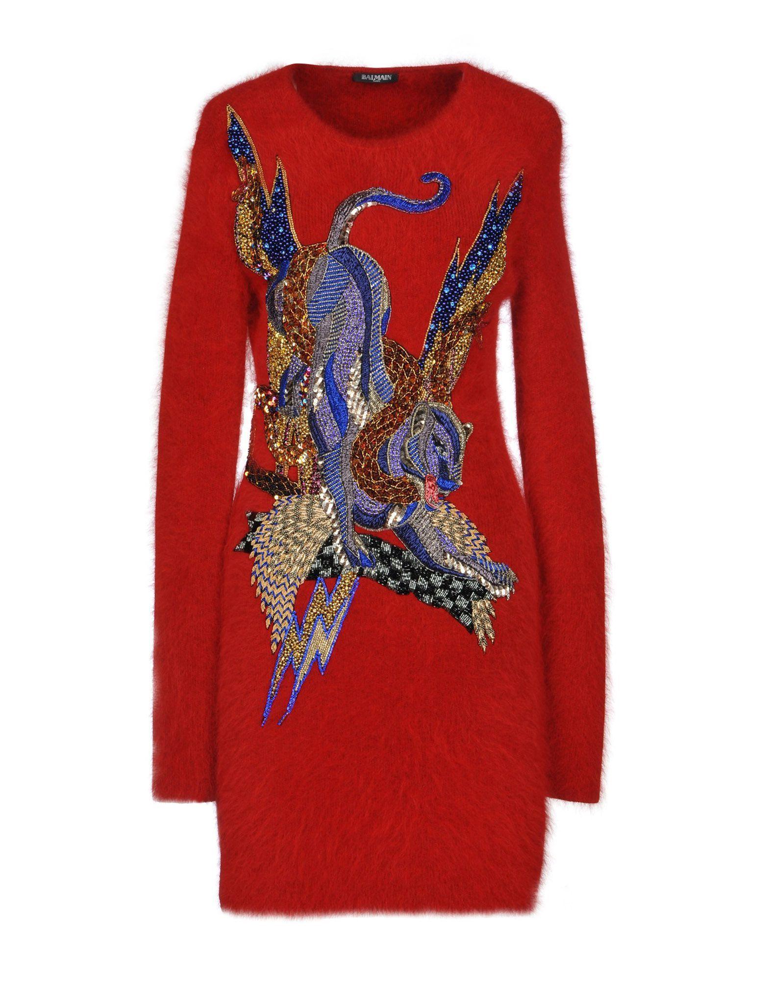 Balmain Red Angora Sequinned Knit