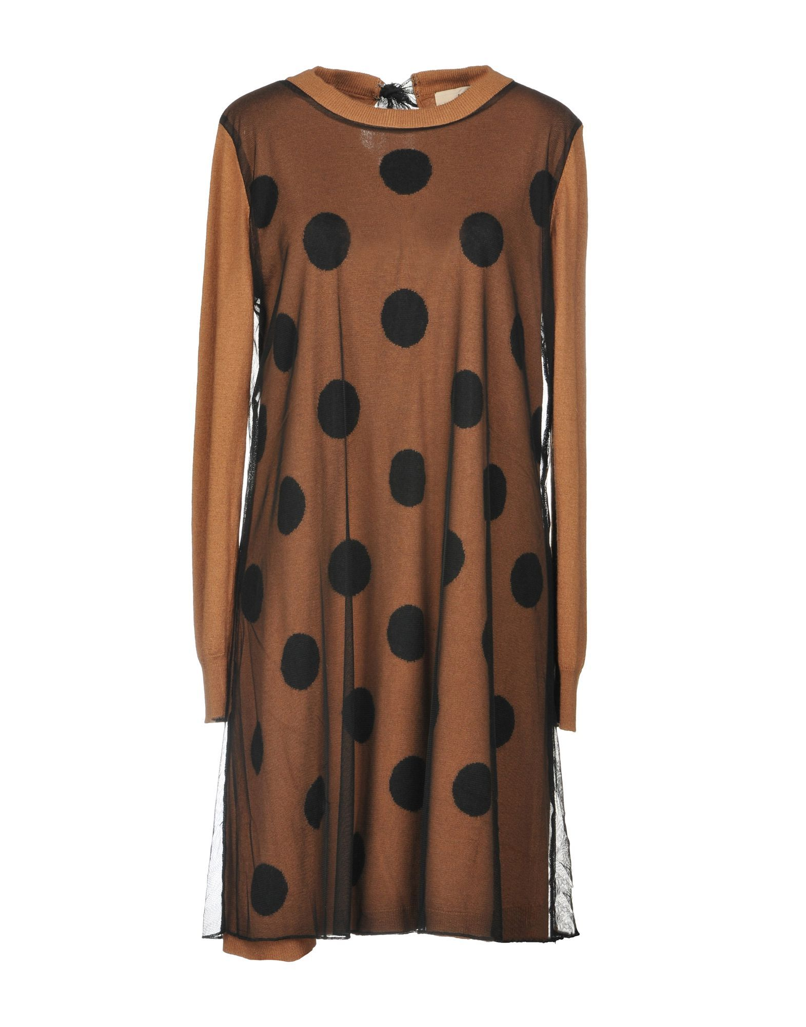Scee By Twinset Brown Tulle Polka Dot Dress