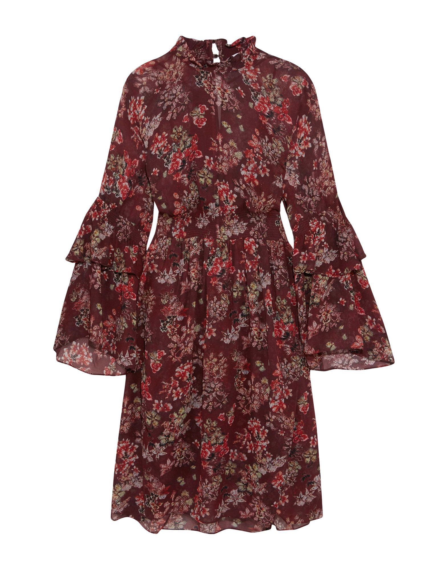 Iro Maroon Floral Print Flared Sleeve Dress