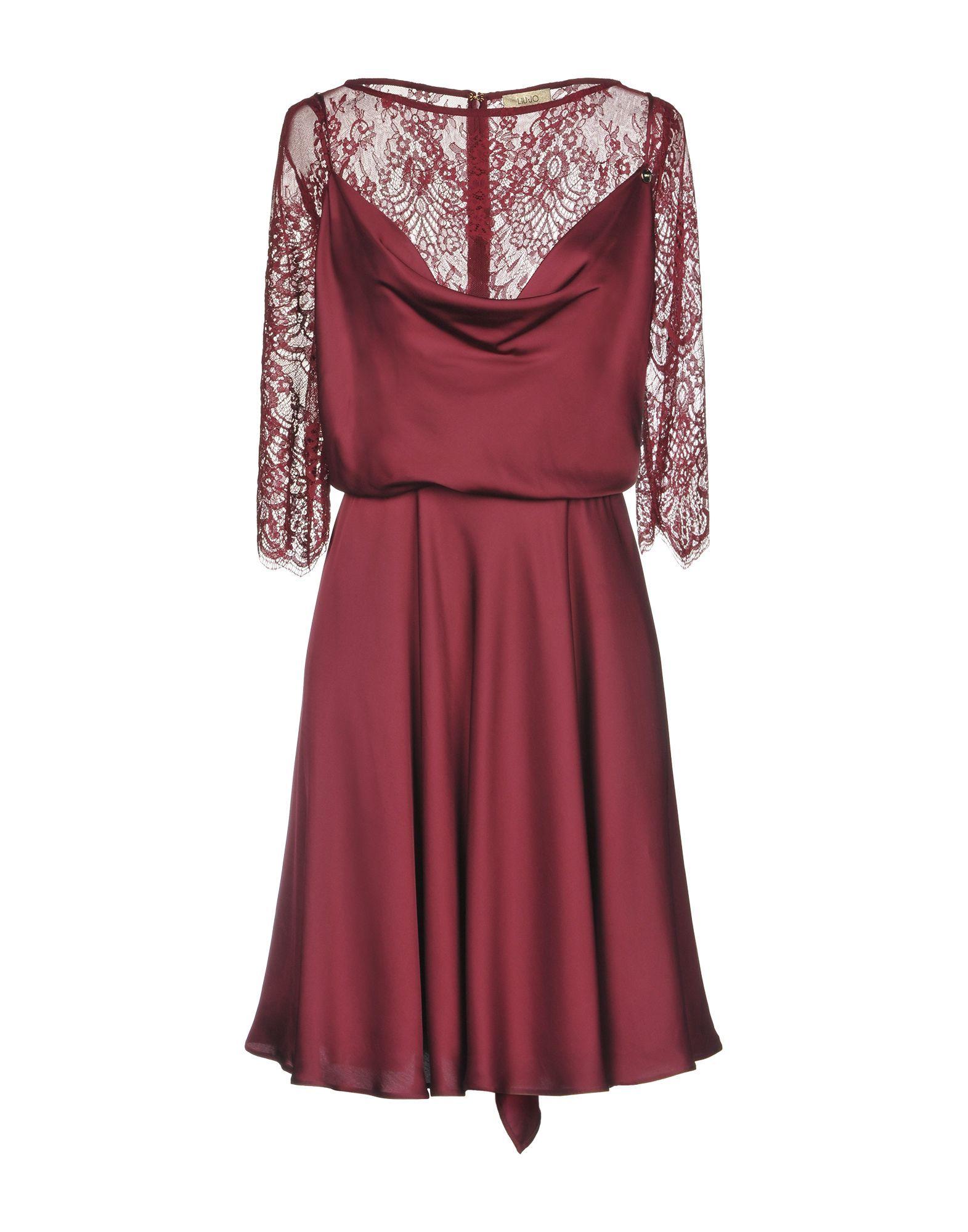 Liu Jo Maroon Lace Sleeve Dress