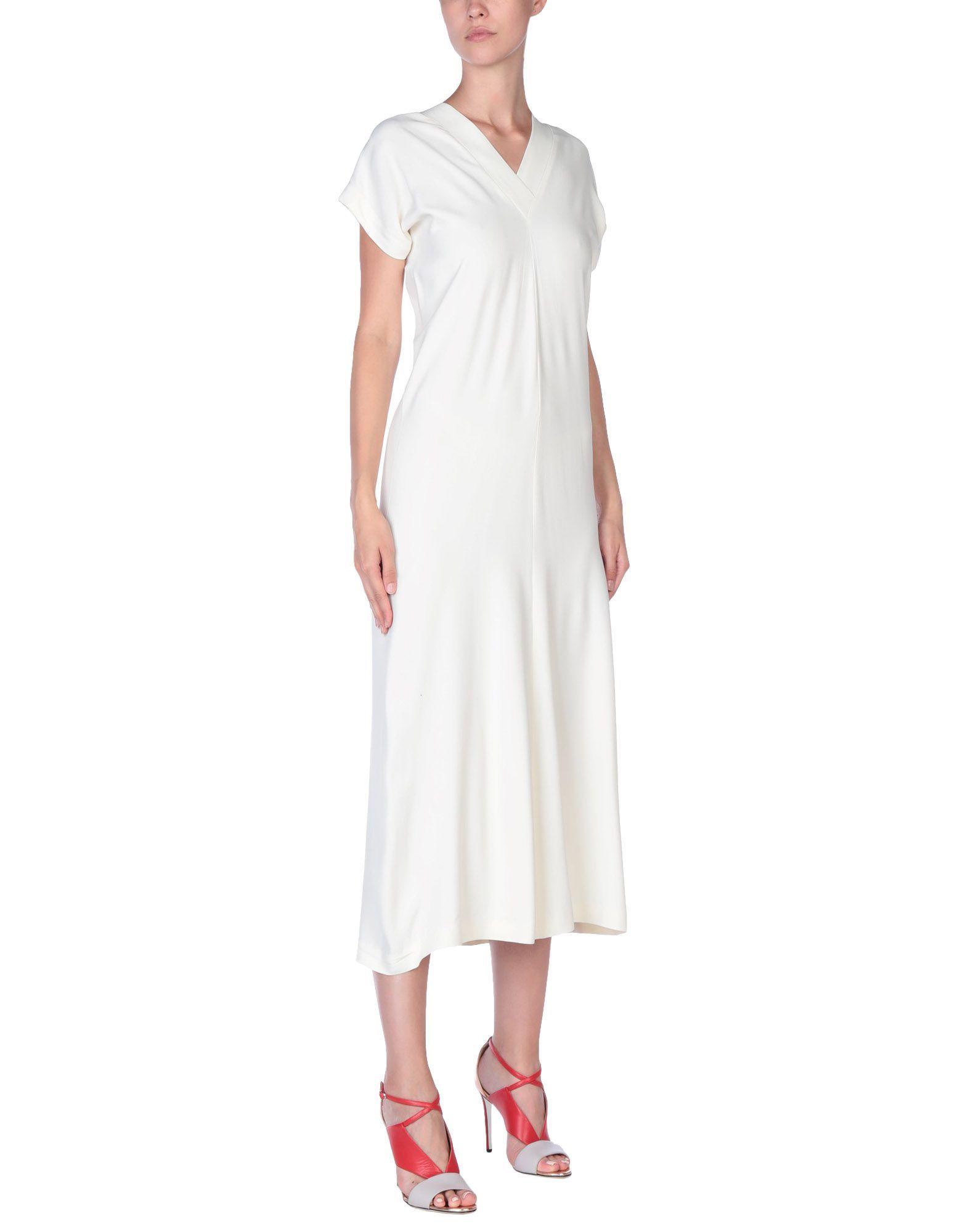 Helmut Lang Ivory Crepe Short Sleeve Dress