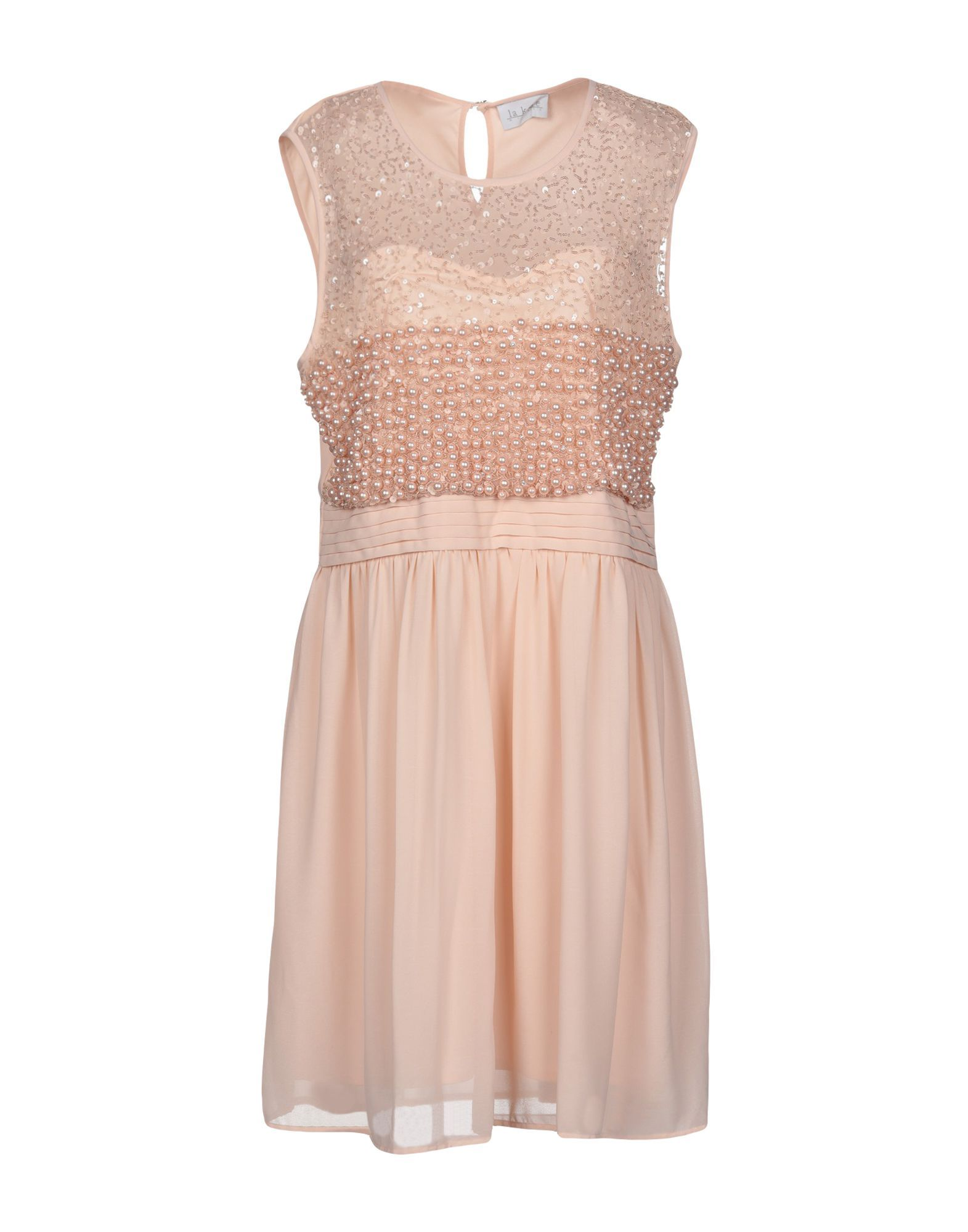 La Kore Pink Crepe And Tulle Sequinned Sleeveless Dress