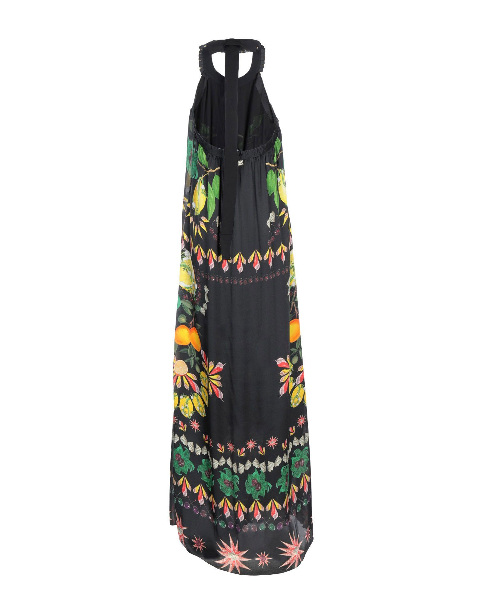 Cavalli Class Black Print Silk Full Length Dress