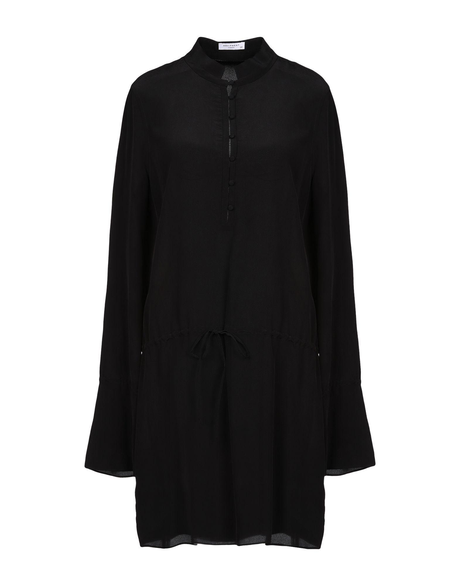 Equipment Black Silk Long Sleeve Shirt Dress