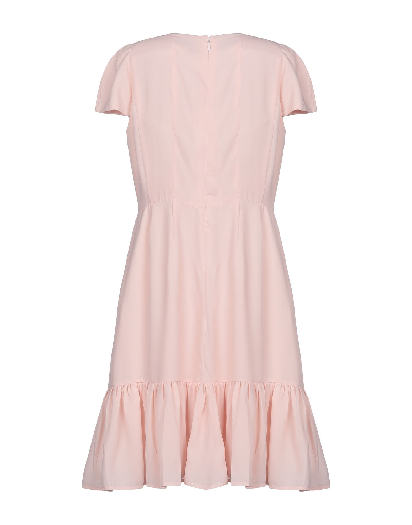 By Malina Pink Crepe Short Sleeve Dress