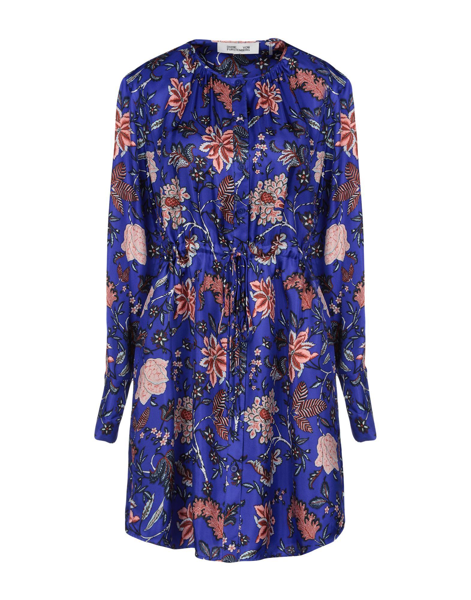 Diane Von Furstenberg Bright Blue Print Silk Dress
