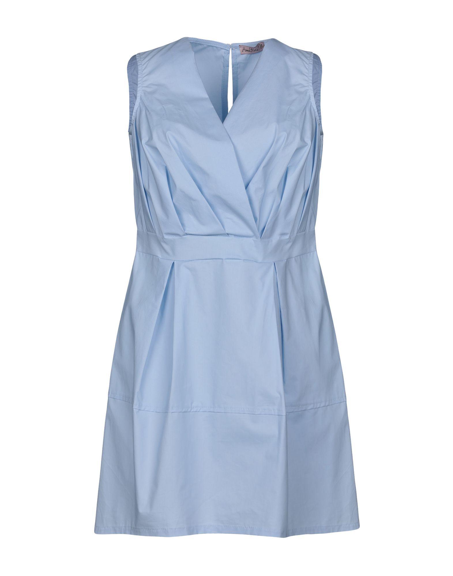 Annarita N Sky Blue Cotton Short Dress