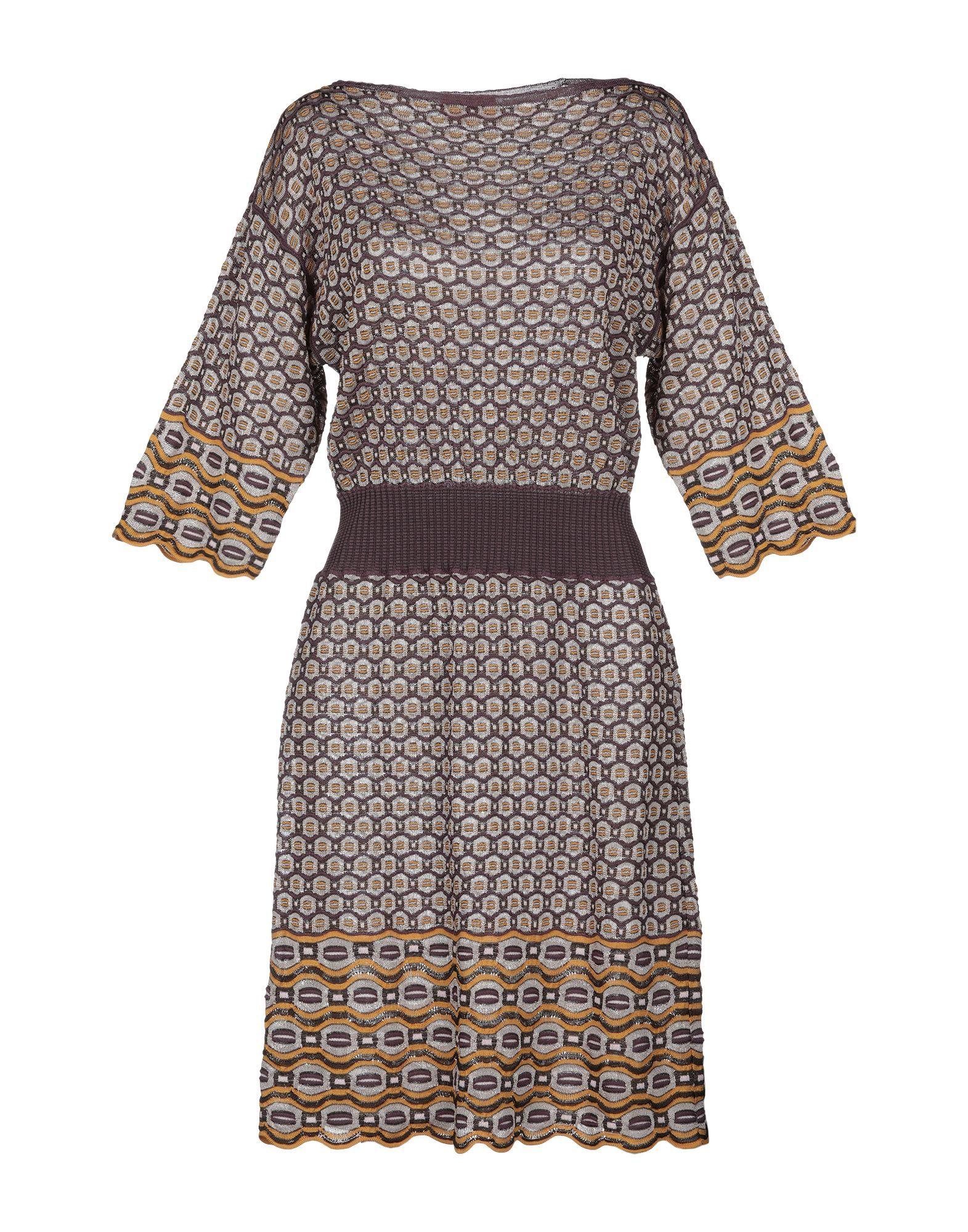 Missoni Purple Knit Dress With Three Quarter Length Sleeves
