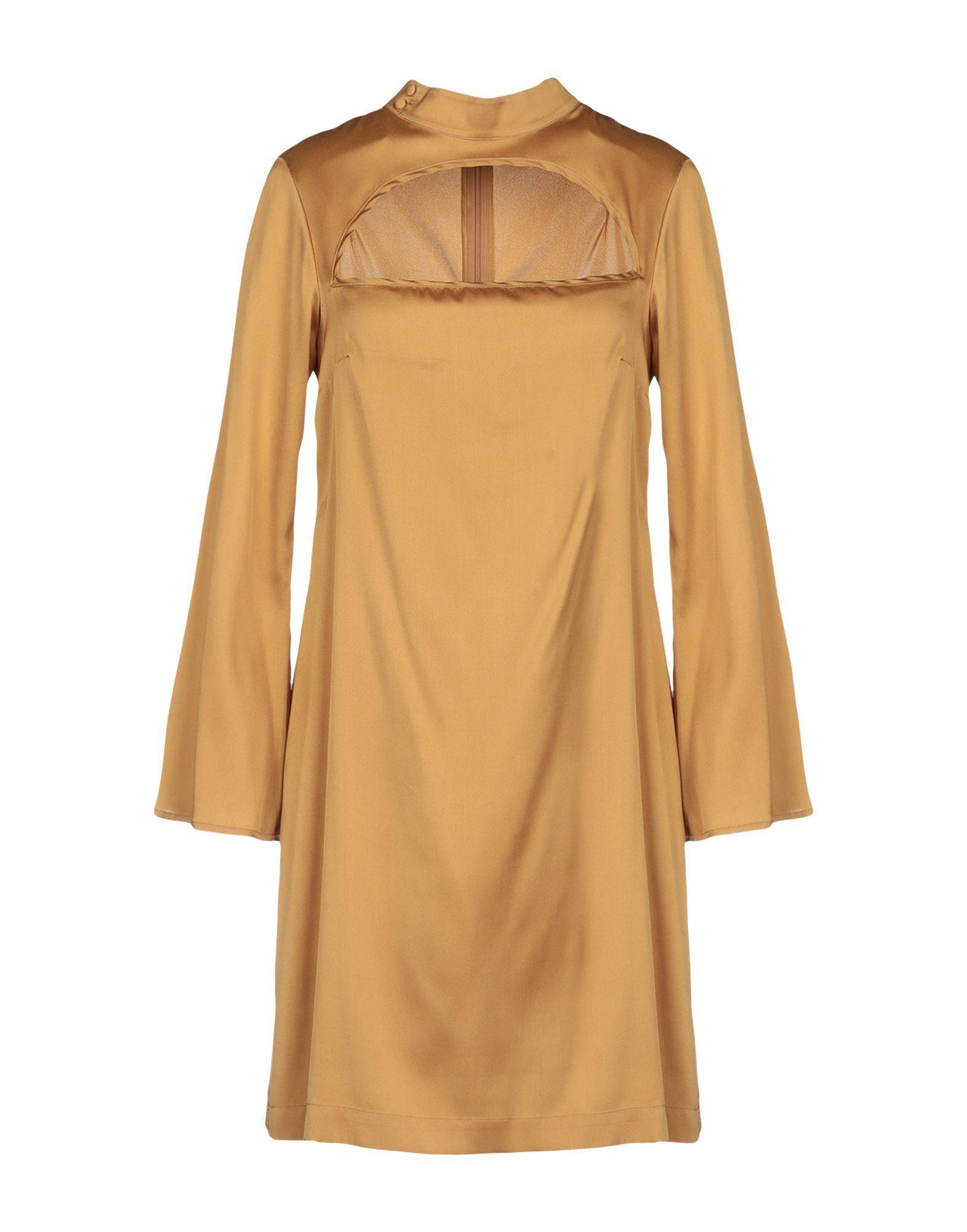 L' Autre Chose Ochre Silk Long Sleeve Dress