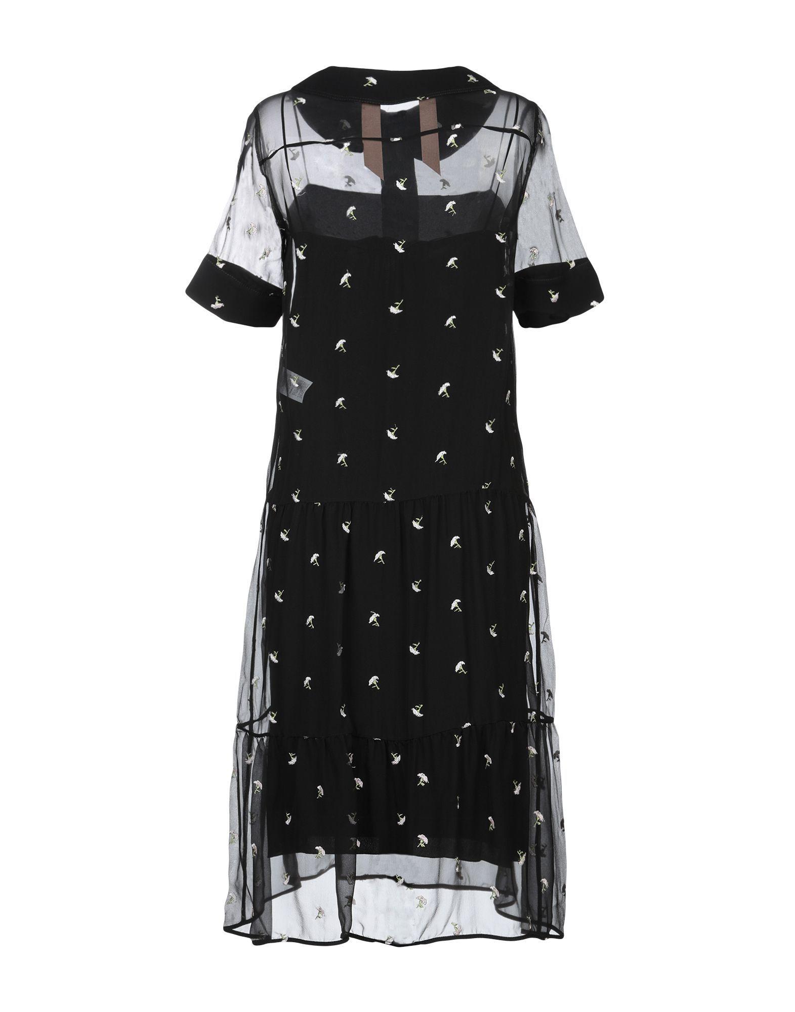 N°21 Black Floral Design Silk Embroidered Shirt Dress