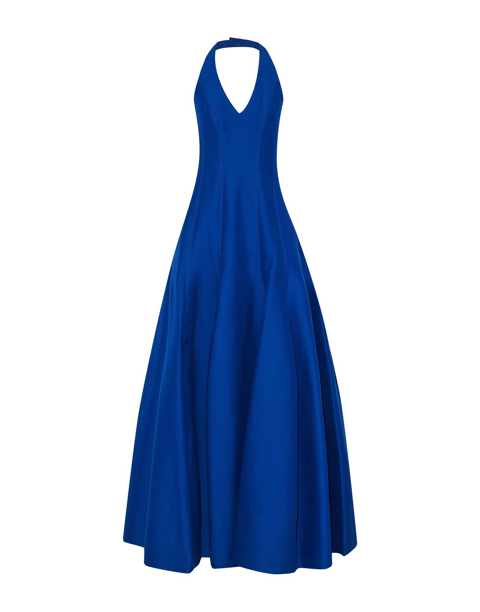 Halston Bright Blue Cotton Full Length Dress