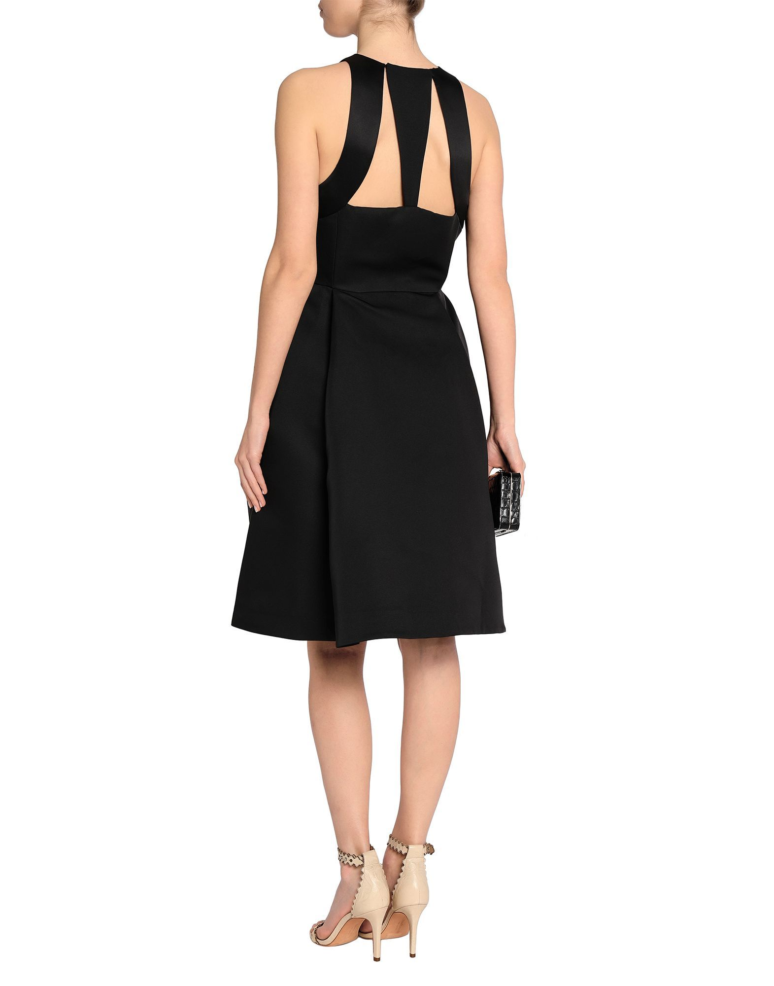Halston Black Twill And Satin Flared Dress