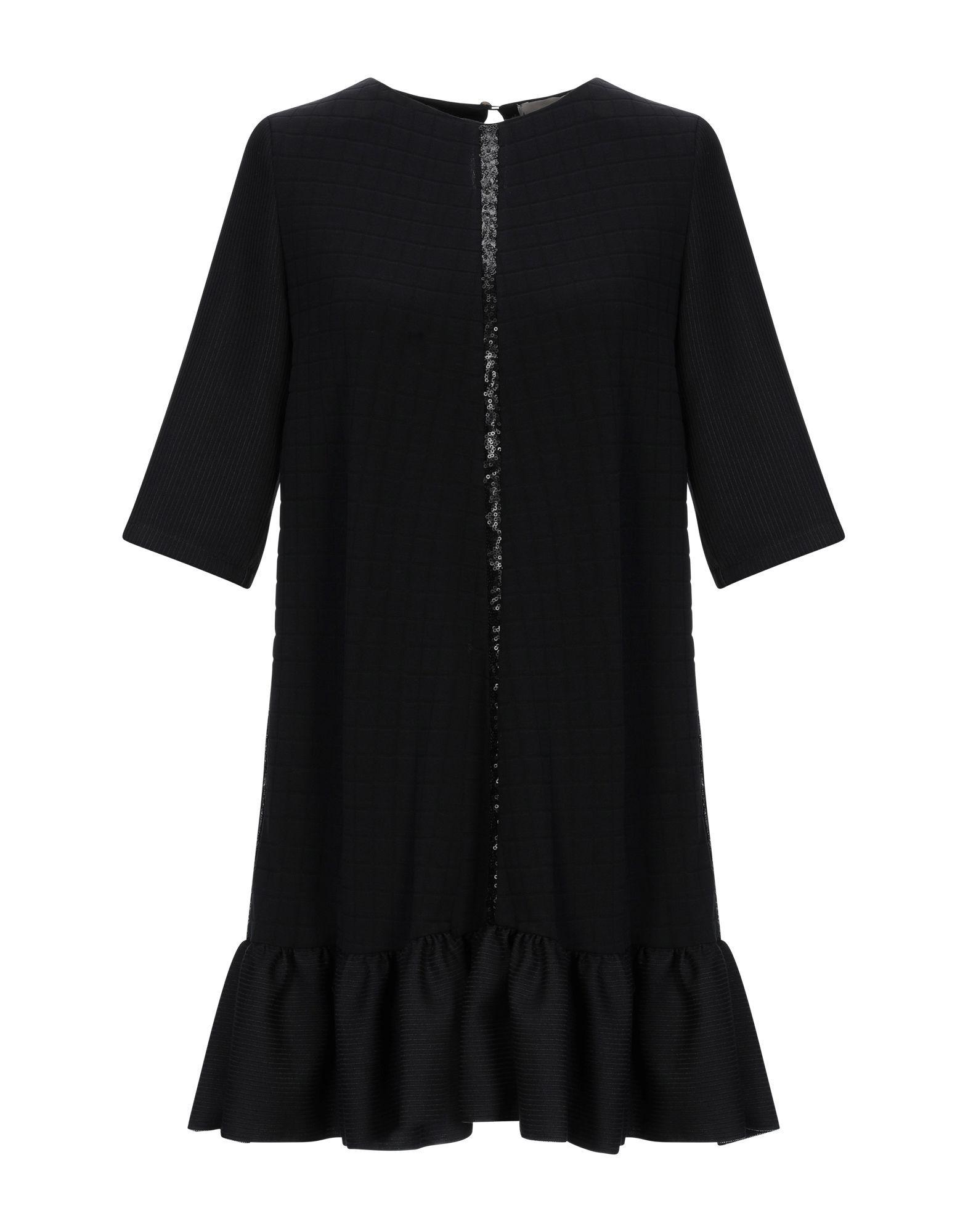 Pinko Black Wool Short Sleeve Dress