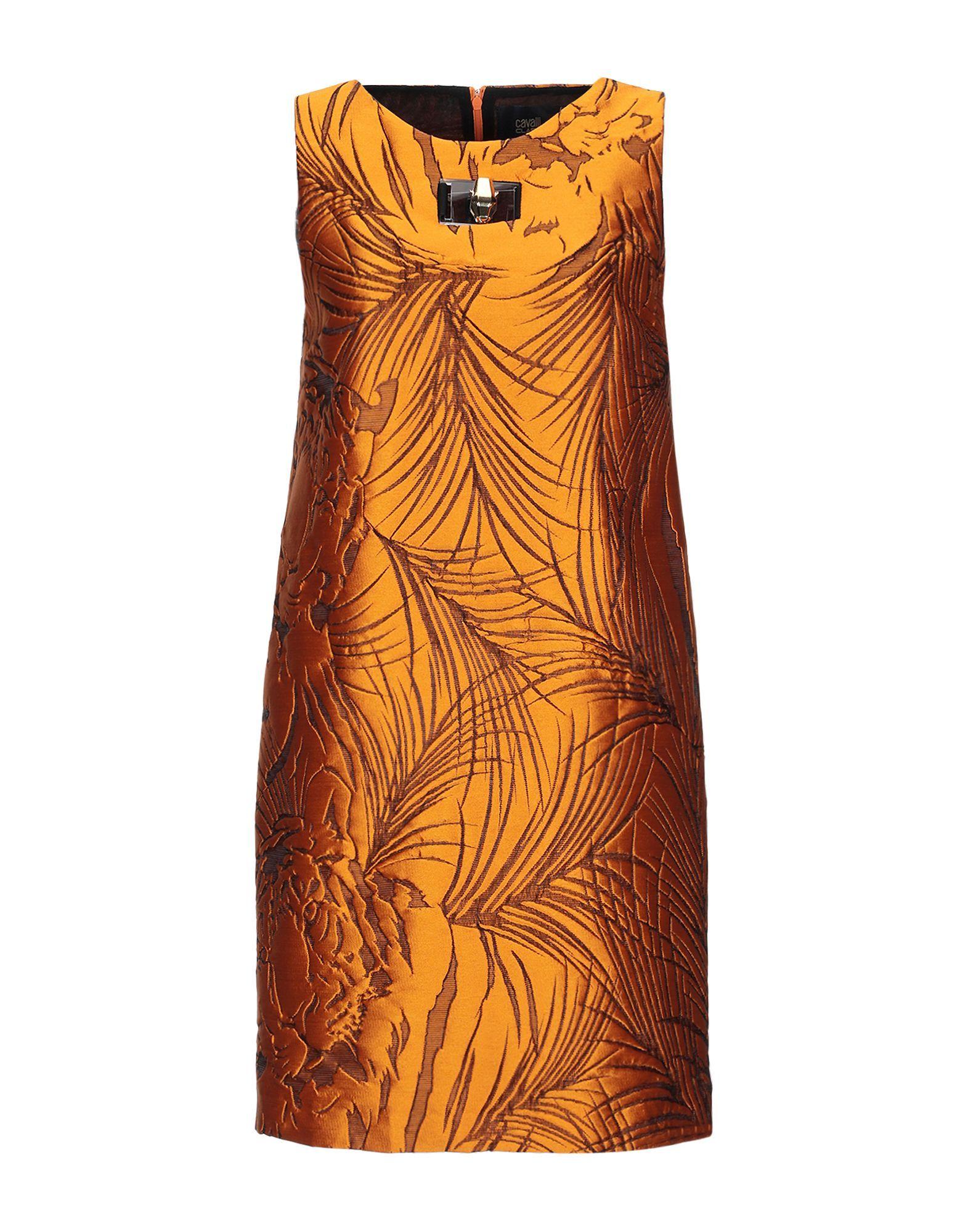 Cavalli Class Brown Short Dress