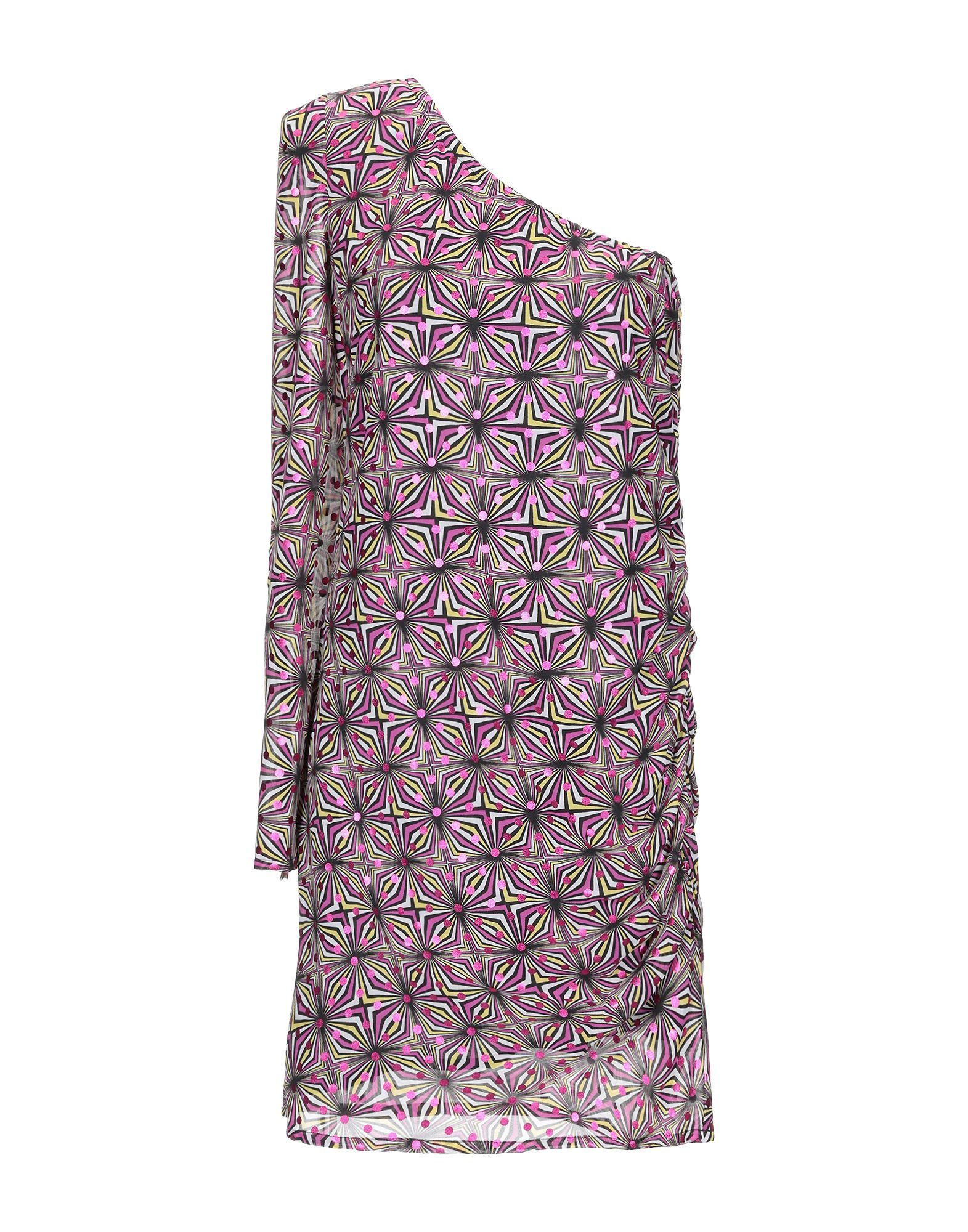Patrizia Pepe Fuchsia Optical Print Asymmetrical Dress