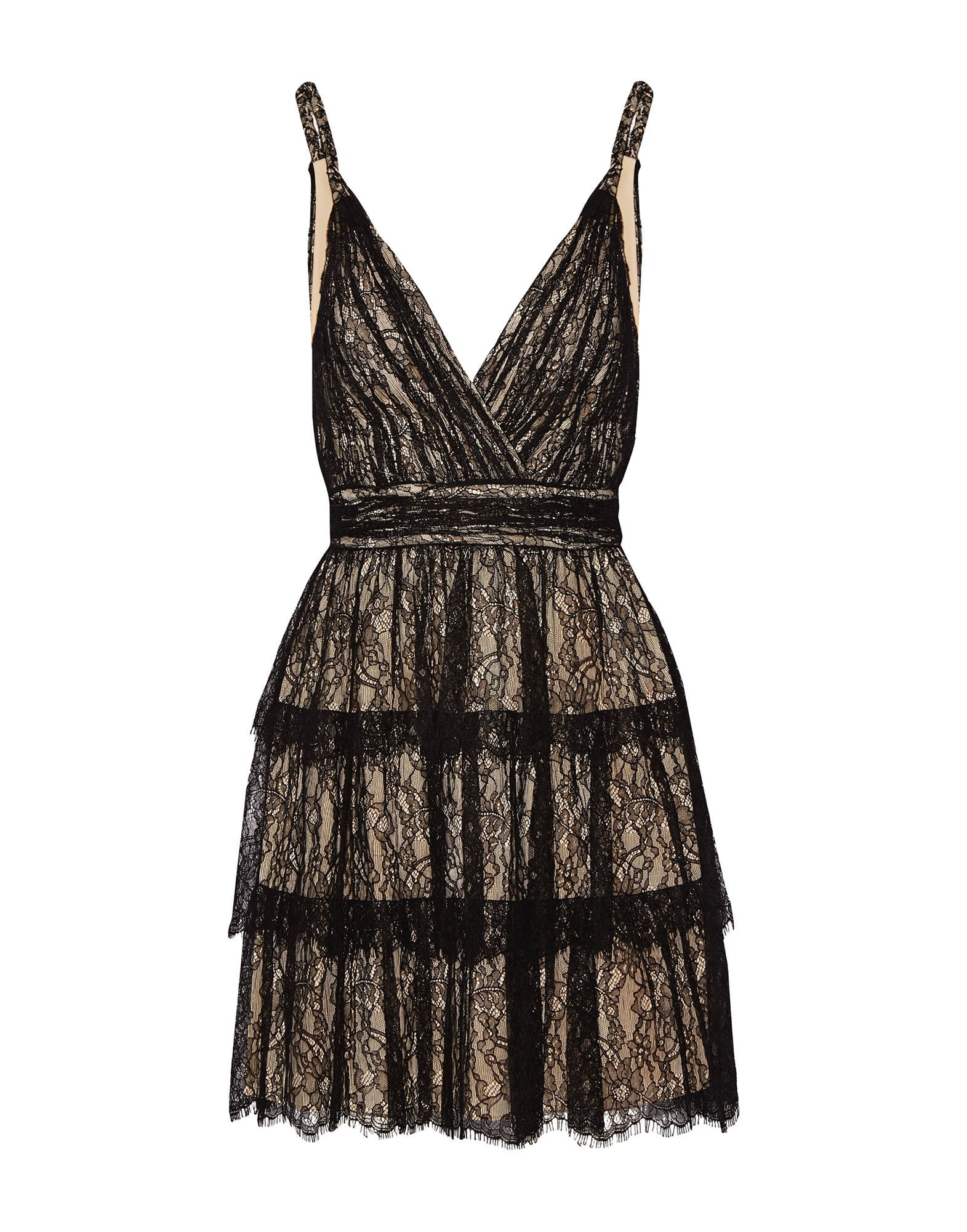 Alice + Olivia Black Tiered Lace Dress