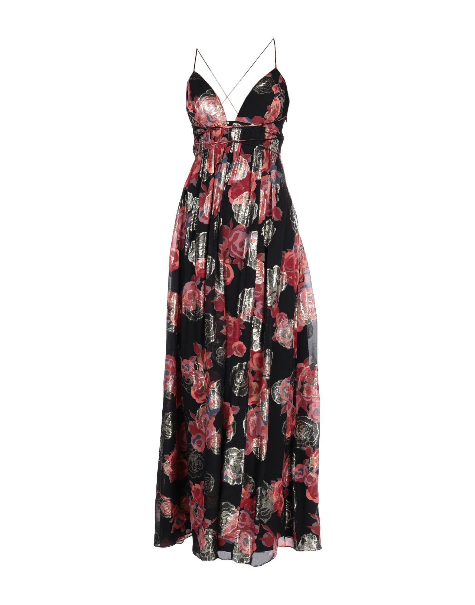 Free People Black Print Silk Full Length Dress