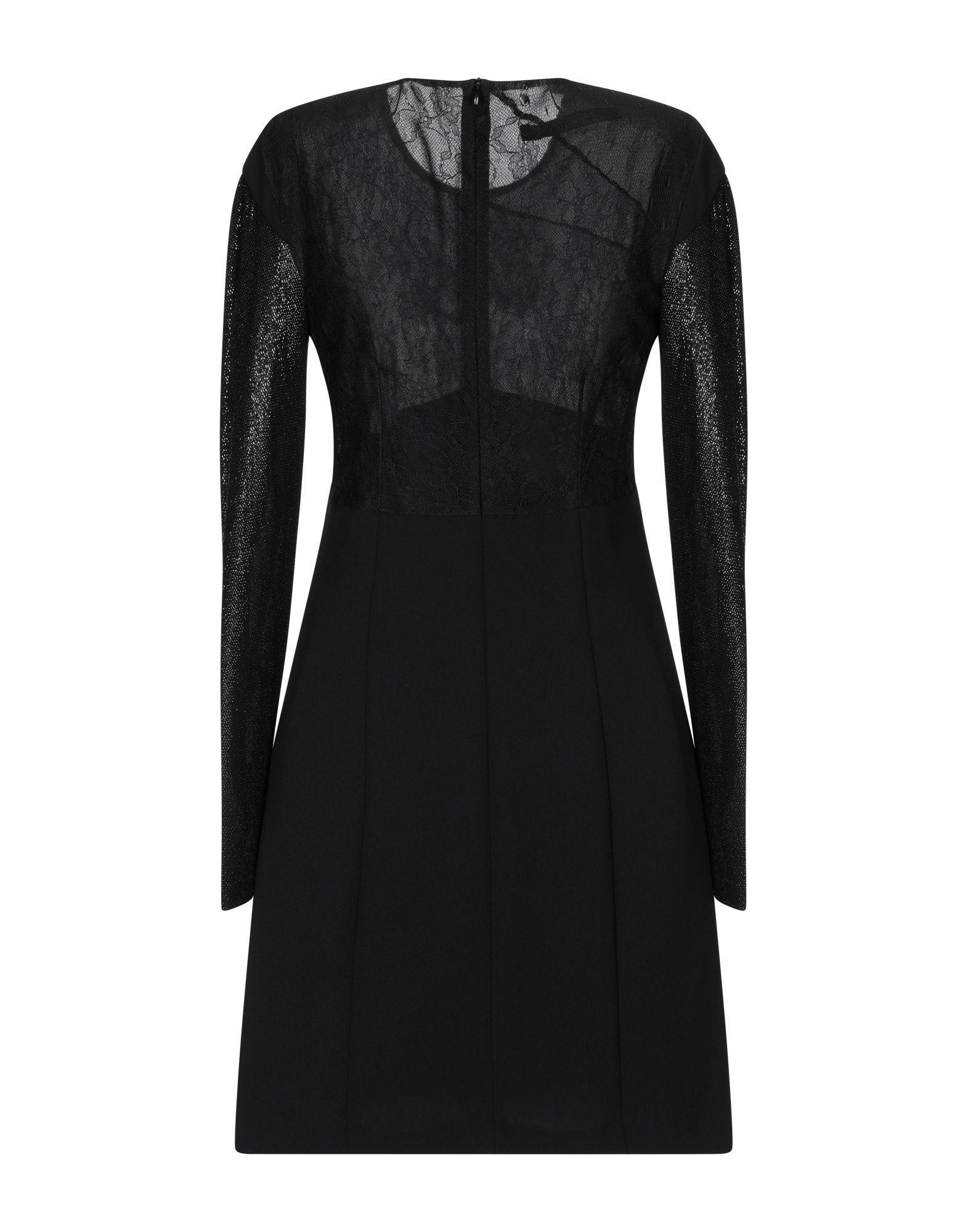 Annarita N Black Lace And Crepe Long Sleeve Dress