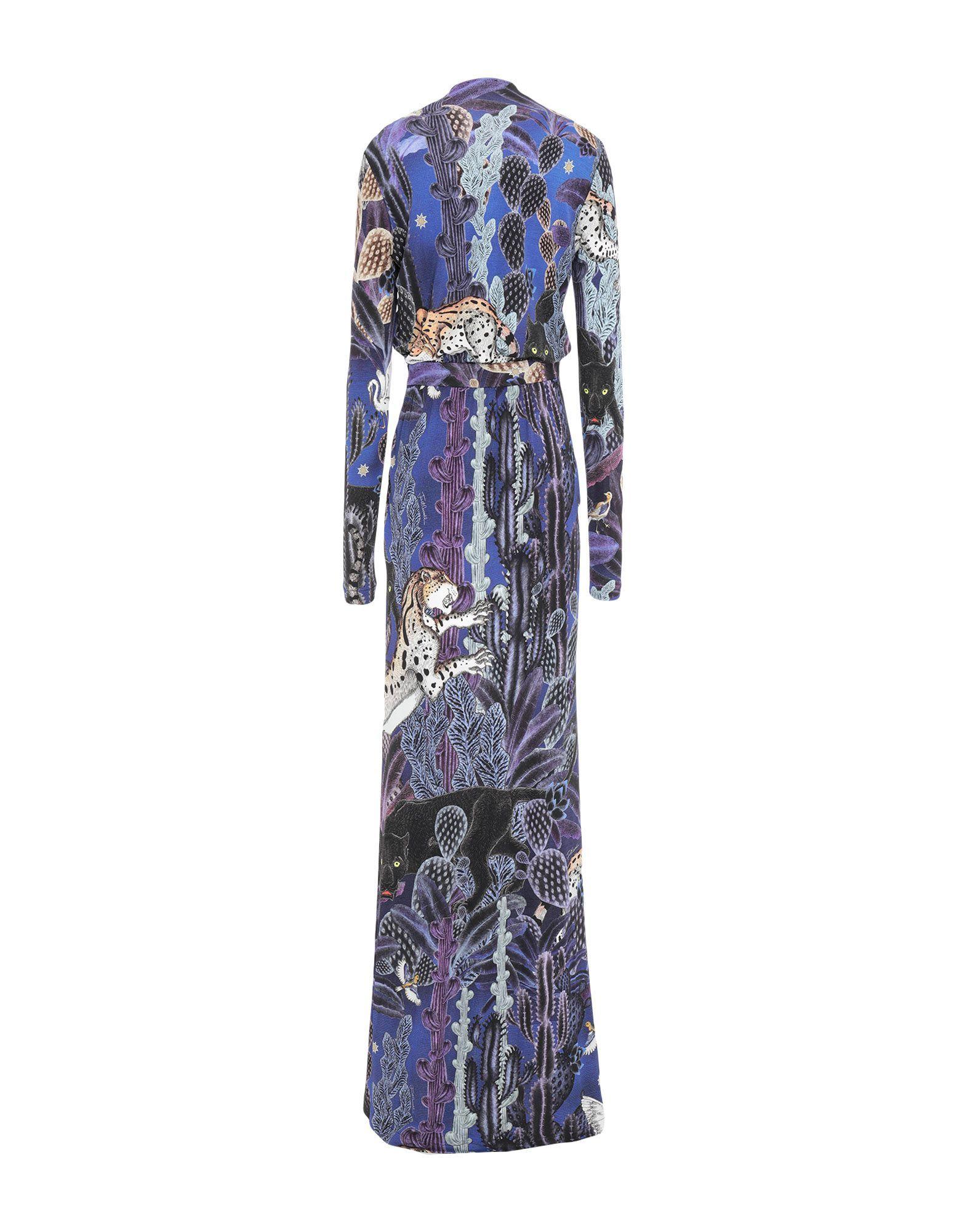 Just Cavalli Purple Print Long Sleeve Full Length Dress