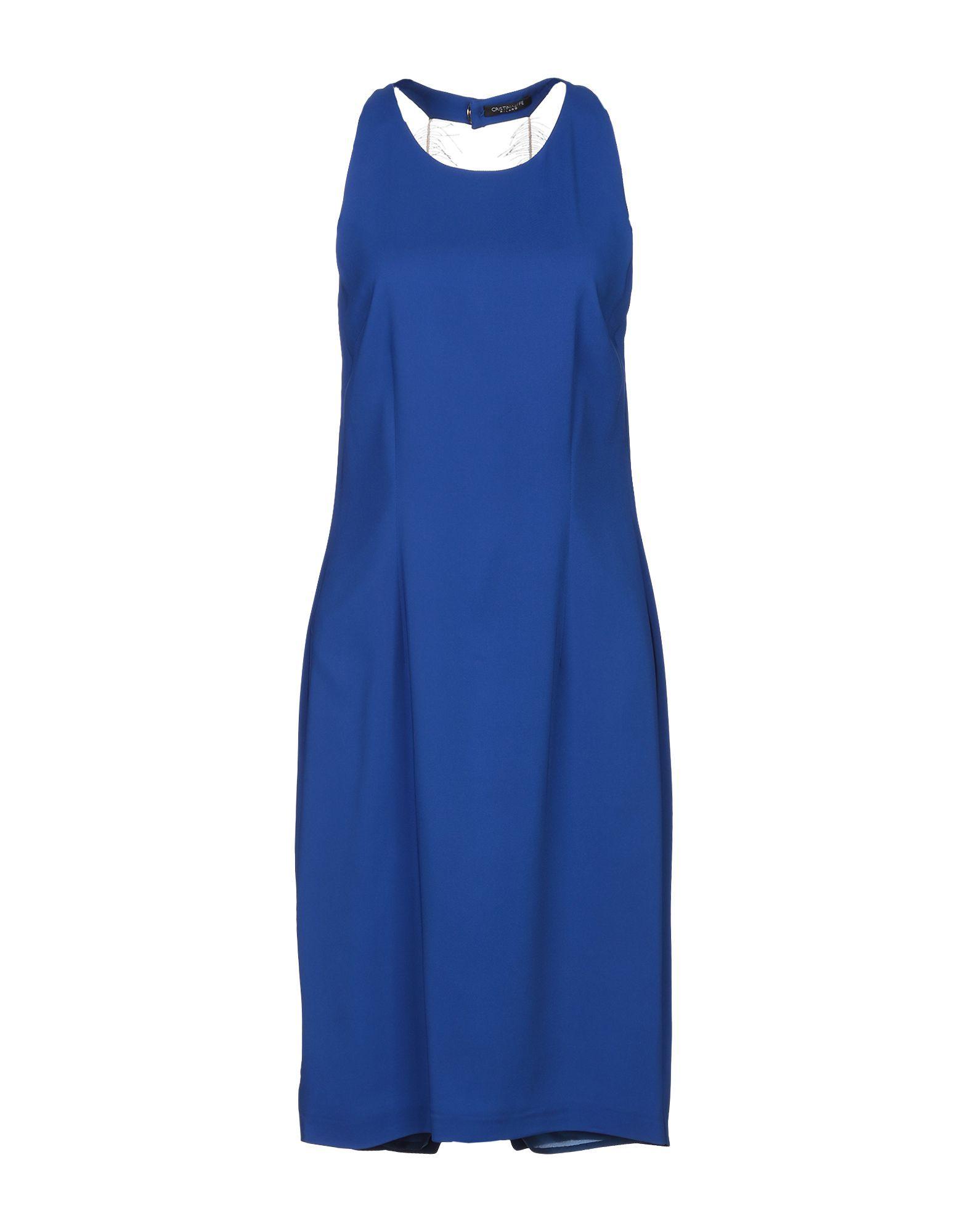 Cristinaeffe Bright Blue Crepe Sleeveless Dress