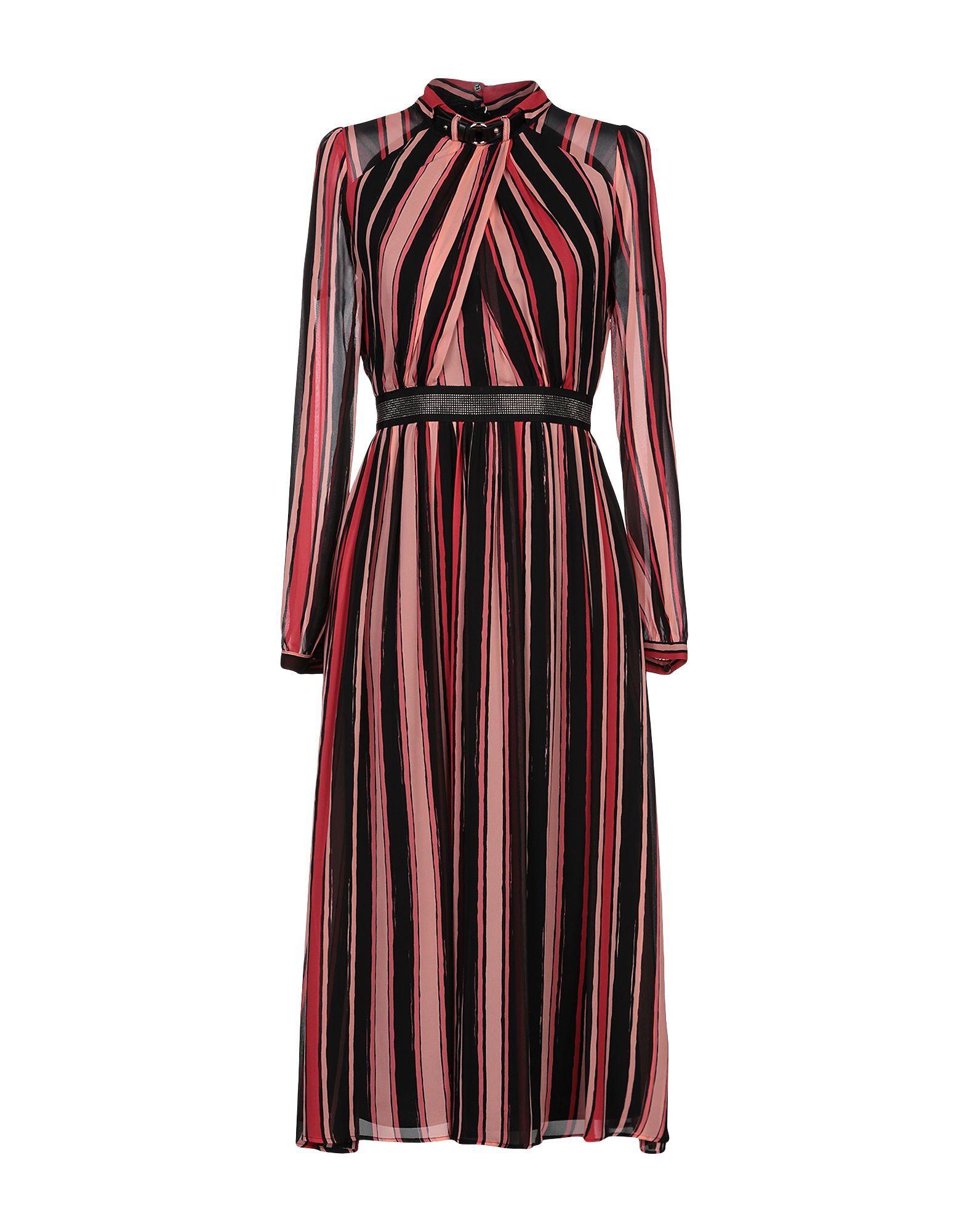 Atos Lombardini Pale Pink Stripe Midi Dress