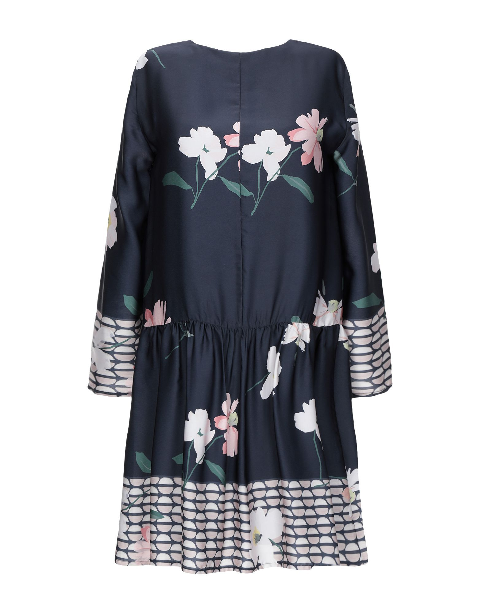 Rue 8Isquit Dark Blue Floral Print Long Sleeve Dress