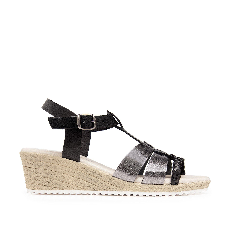 Wedge Leather Sandals Black Women Summer Son Castellanisimos