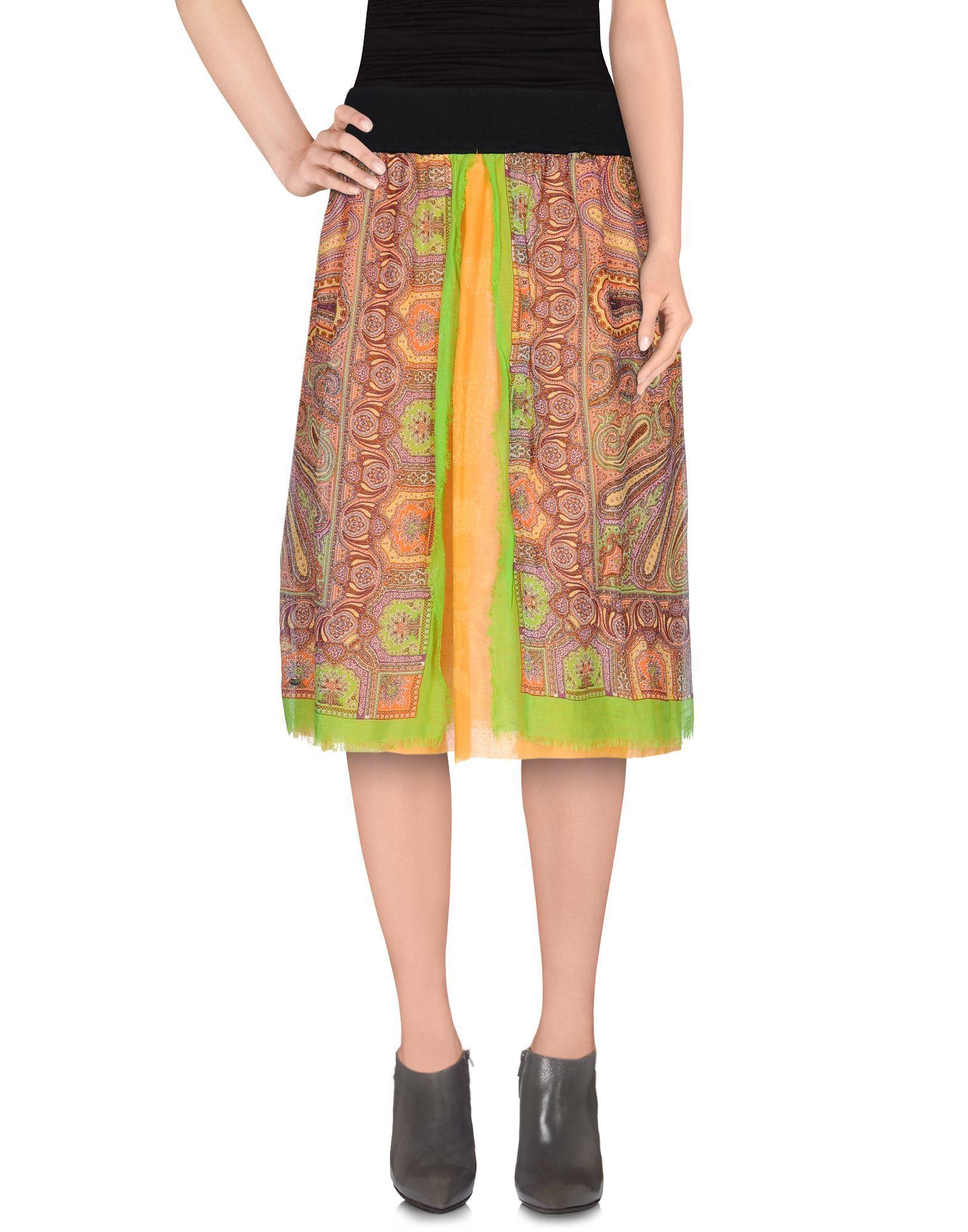 Rosamunda Women's Orange Knee Length Skirt