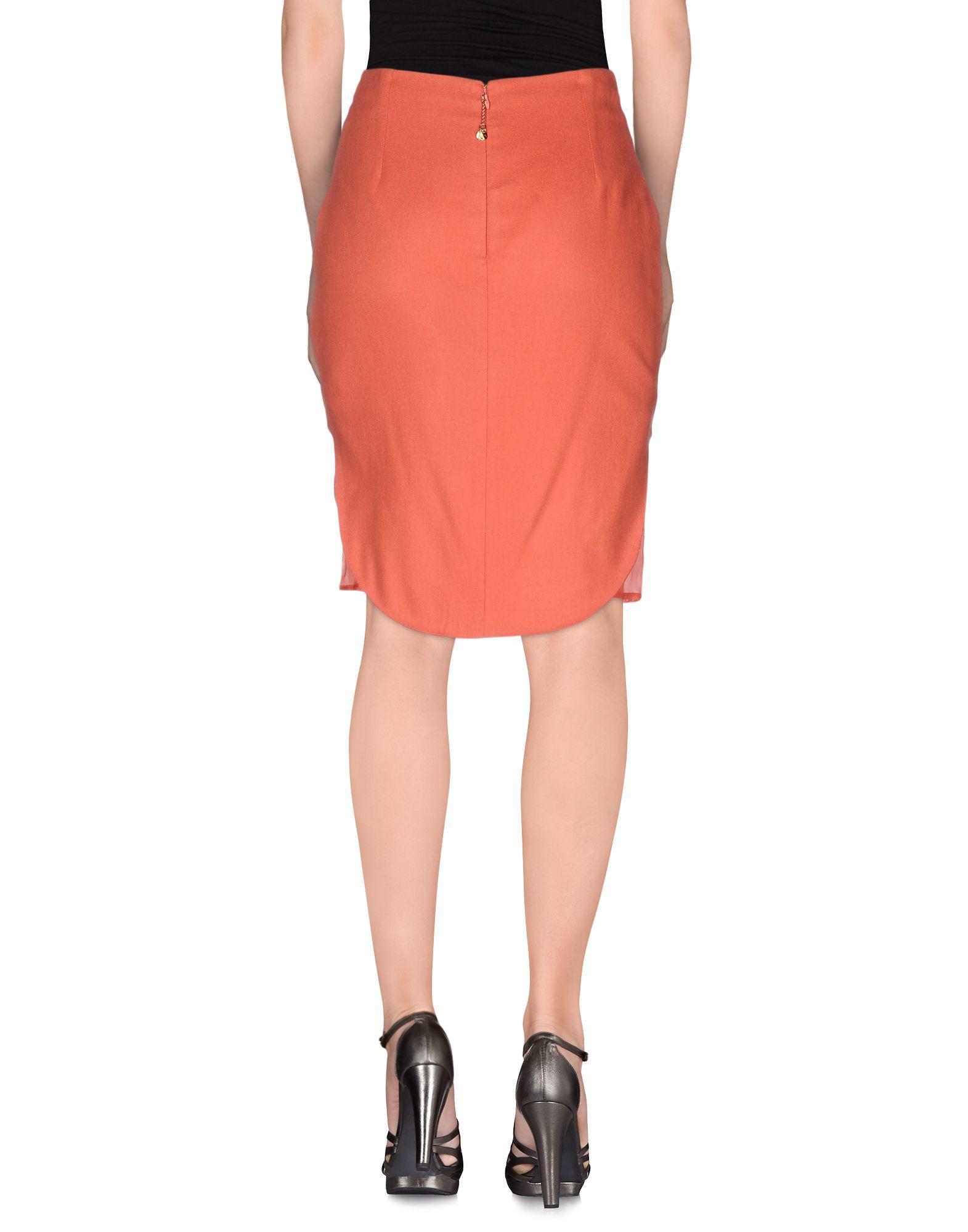 Elisabetta Franchi Gold Coral Silk Embellished Skirt