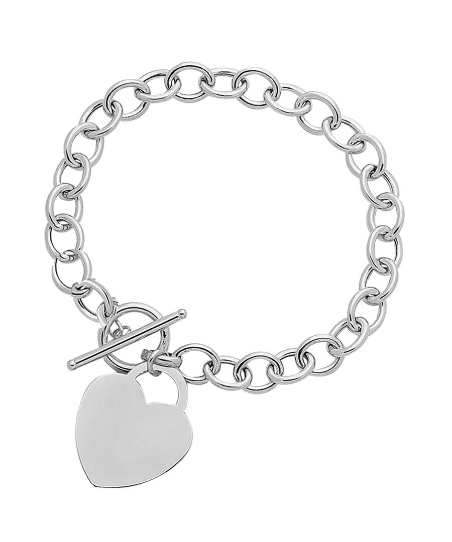 Silver-plated heart charm bracelet
