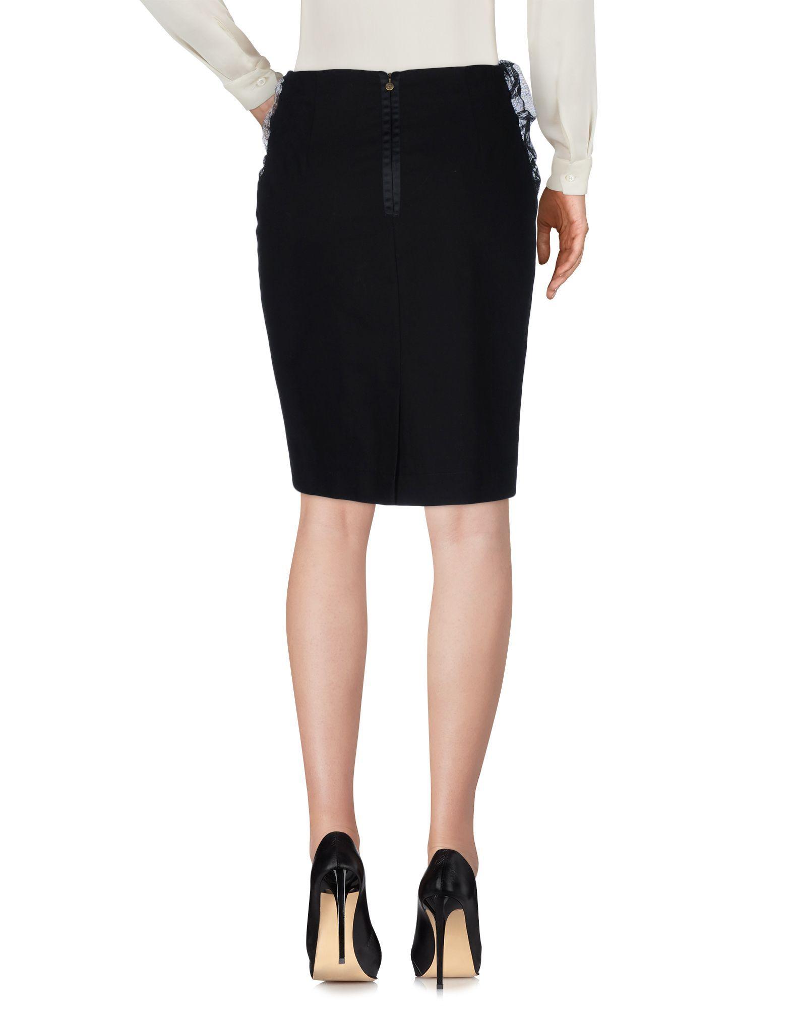 Just Cavalli Black Cotton Knee Length Skirt