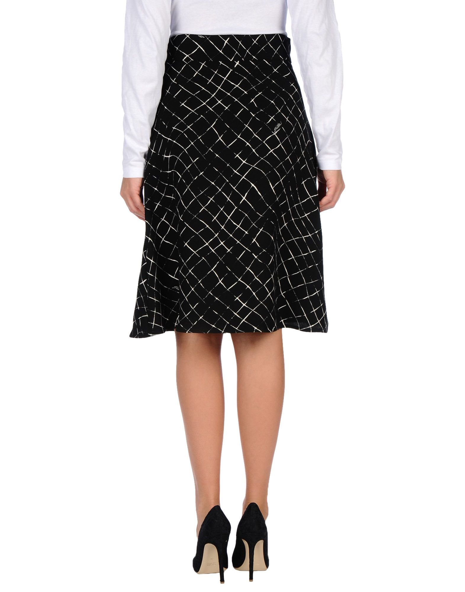 Elisabetta Franchi Black A-Line Knee Length Skirt