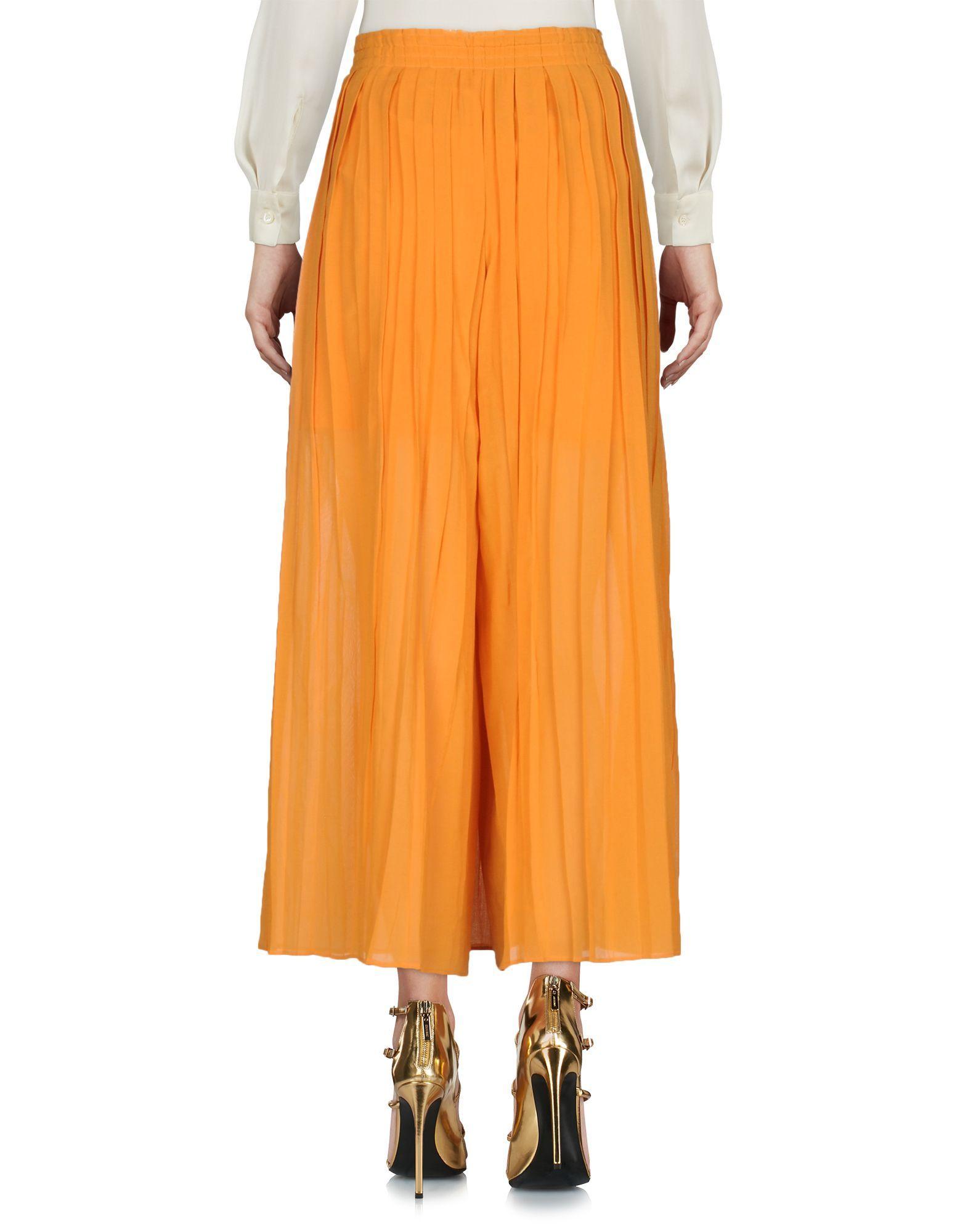 Philosophy Di Alberta Ferretti Orange Cotton Pleated Skirt