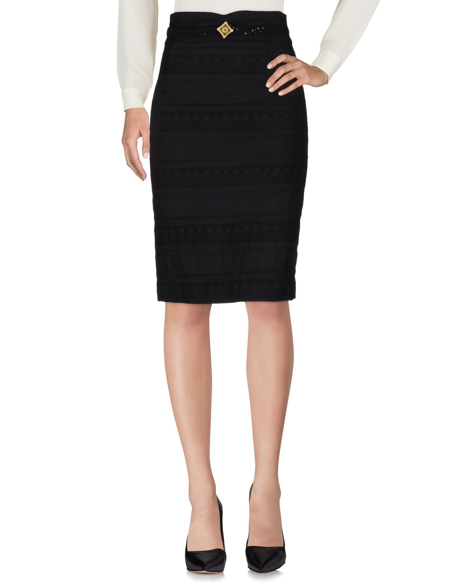 Cavalli Class Black Wool Knee Length Skirt